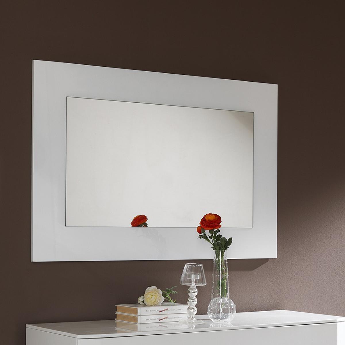 Nouvomeuble Miroir mural design blanc laqué TATIMO
