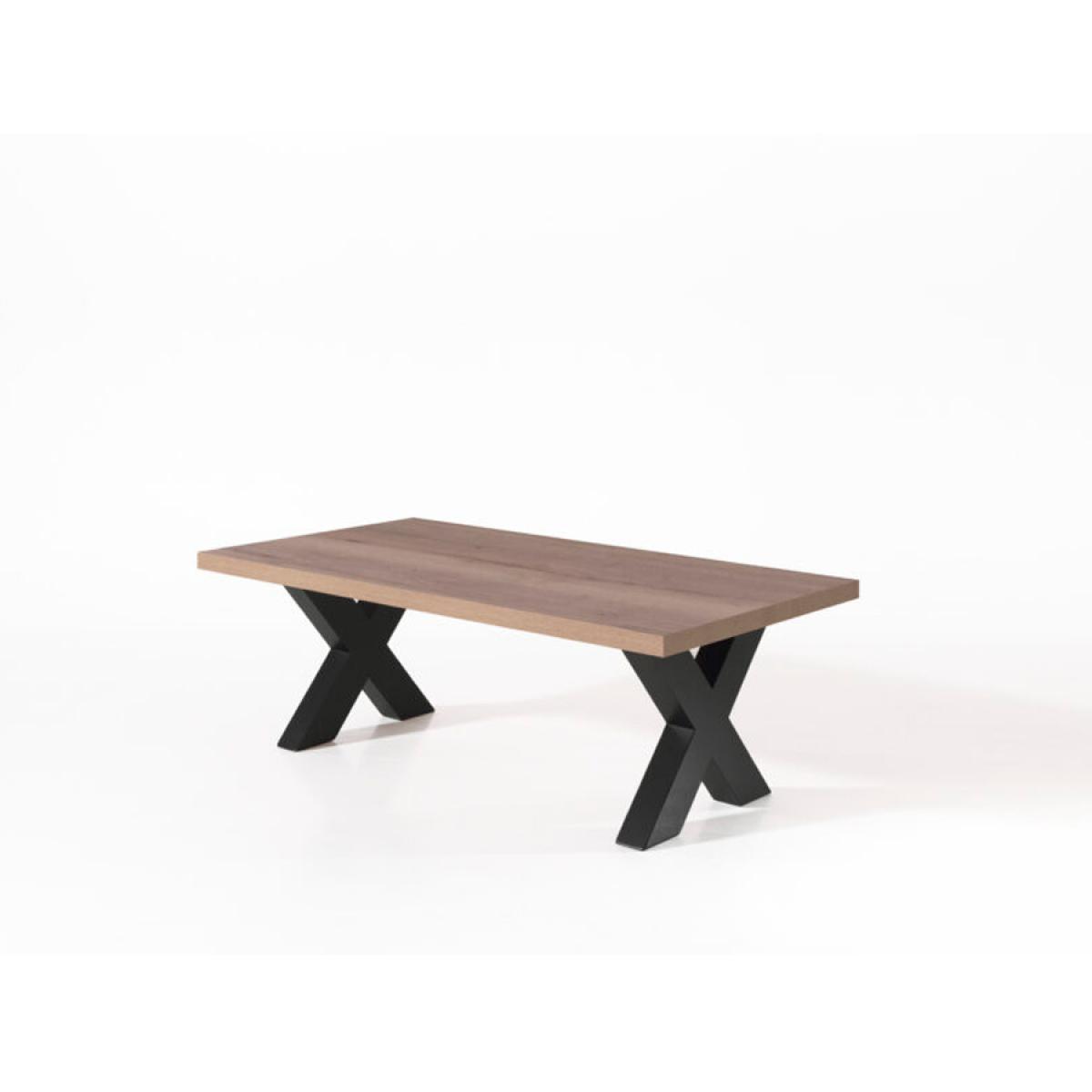 Nouvomeuble Table basse 130 cm couleur chêne foncé NEWCASTLE