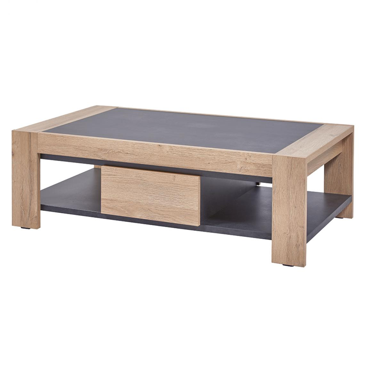 Nouvomeuble Table basse contemporaine couleur chêne clair NELLIE