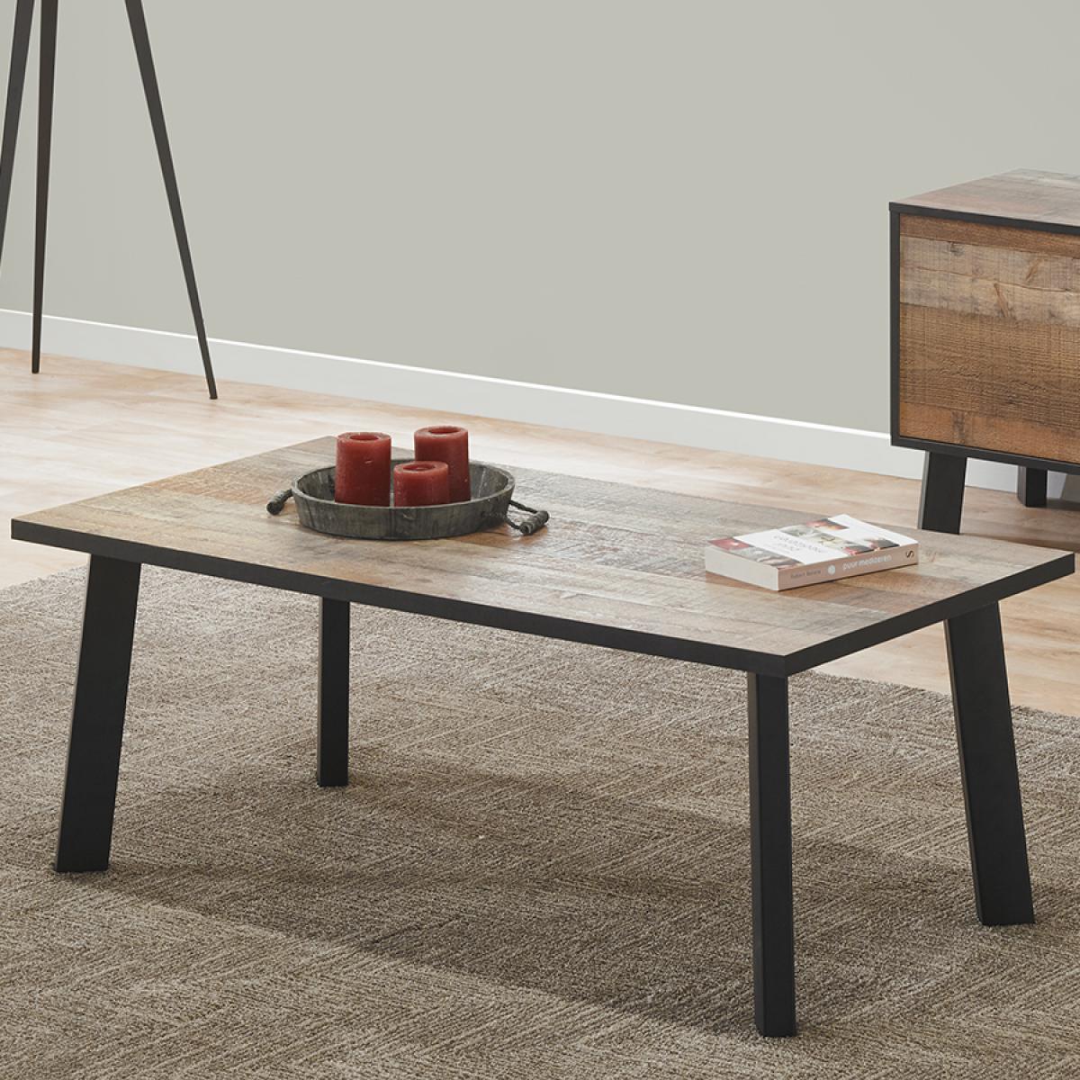 Nouvomeuble Table basse industrielle couleur bois vieilli ICARE