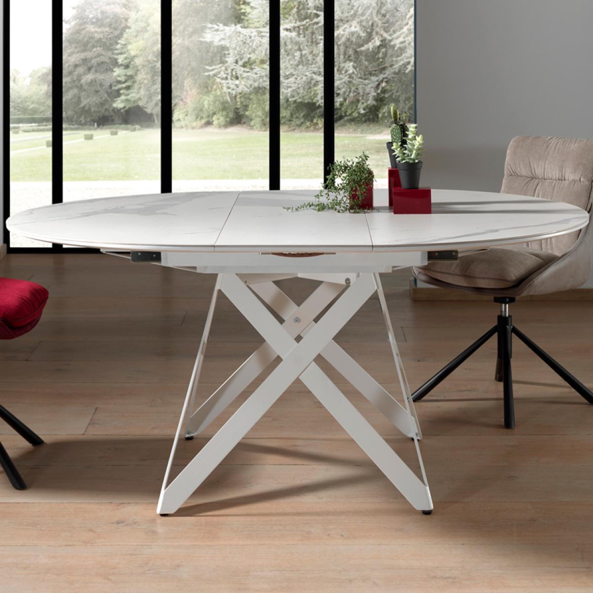 Nouvomeuble Table blanche extensible en céramique ARTHUR