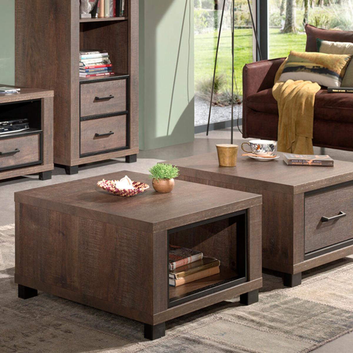 Nouvomeuble Table de salon carrée couleur chêne foncé HANNOVER