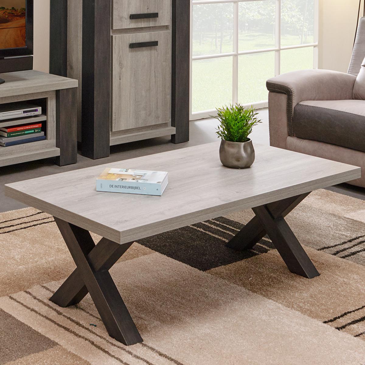 Nouvomeuble Table de salon couleur bois gris contemporaine MATHEIS