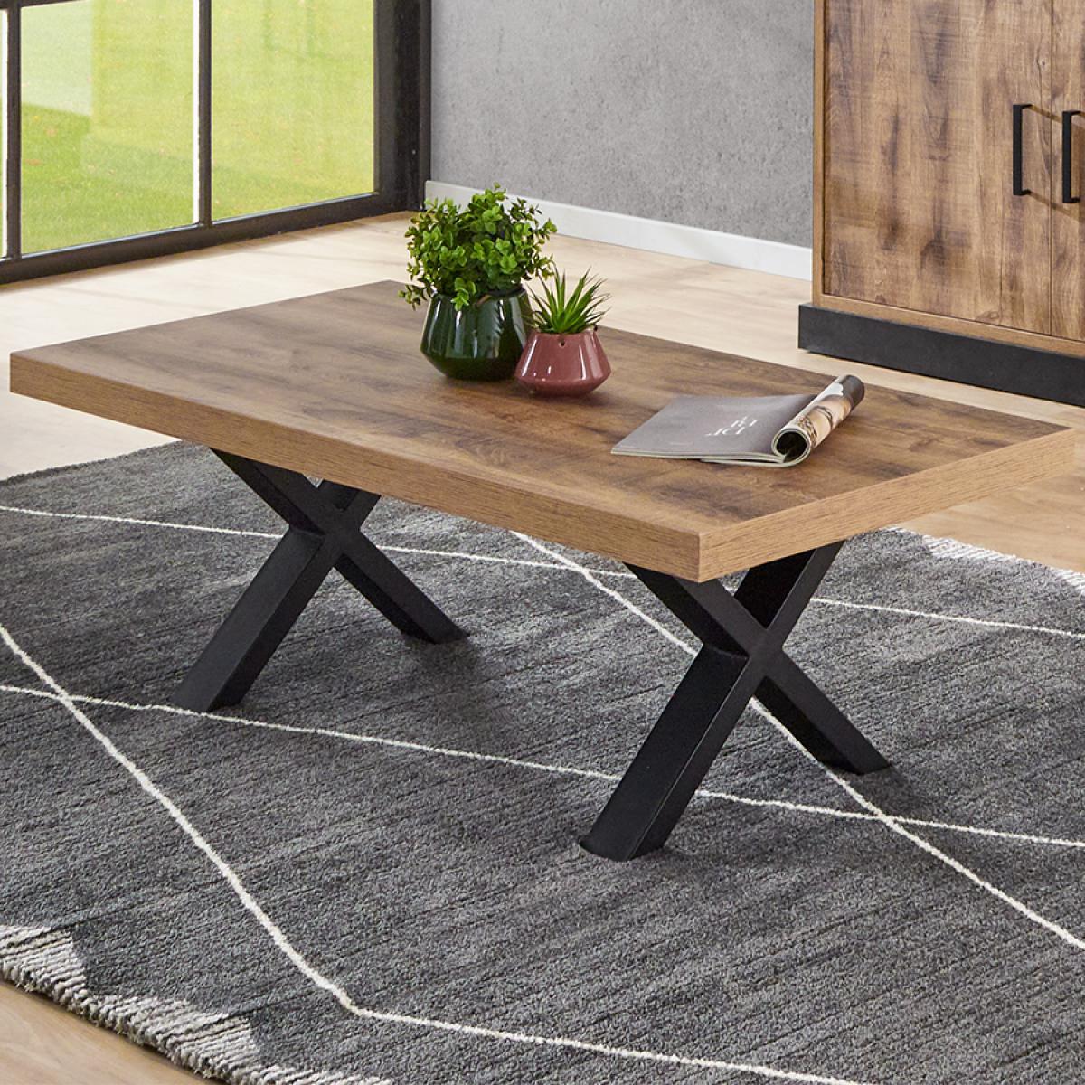 Nouvomeuble Table de salon industrielle couleur bois foncé OSWALD