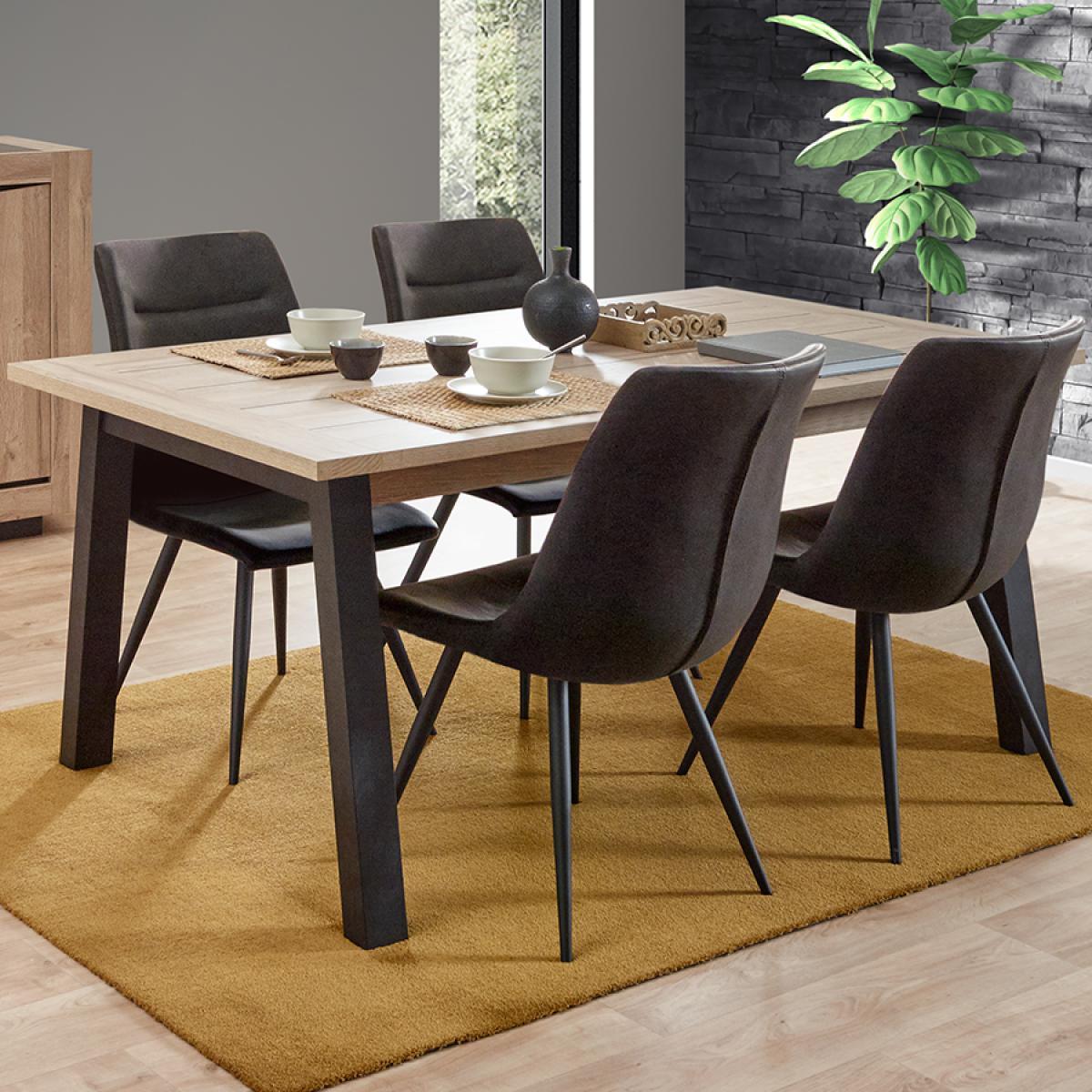 Nouvomeuble Table extensible couleur chêne clair NELLIE