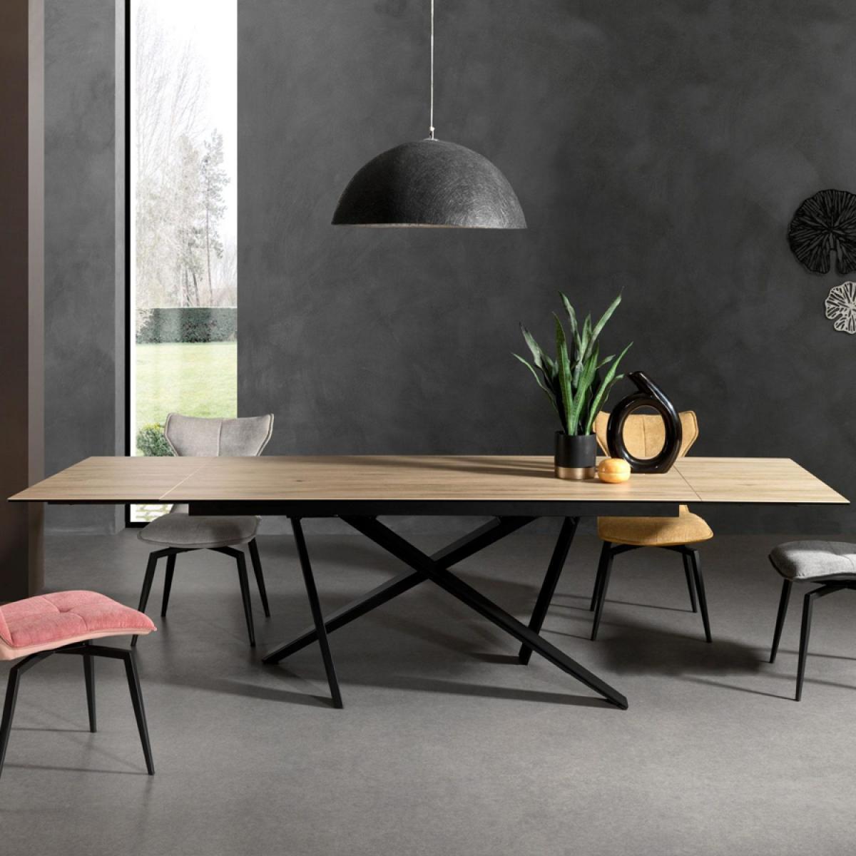 Nouvomeuble Table extensible en céramique et bois FORAY