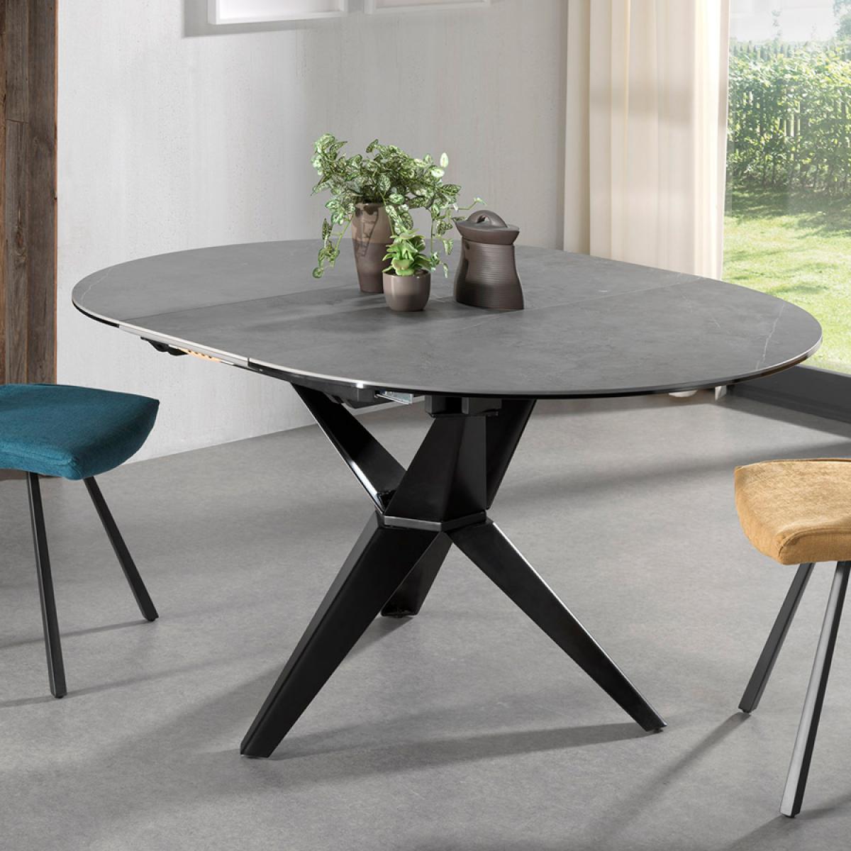 Nouvomeuble Table extensible en céramique grise ESCALONA