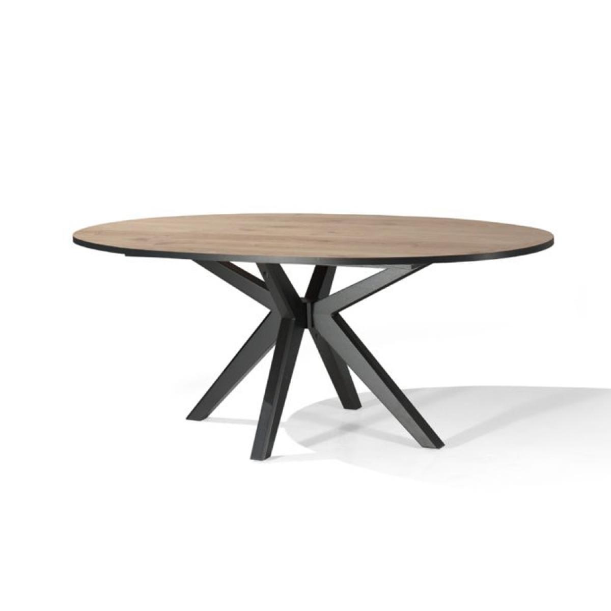 Nouvomeuble Table ovale 200 cm couleur chêne naturel ESTELLE