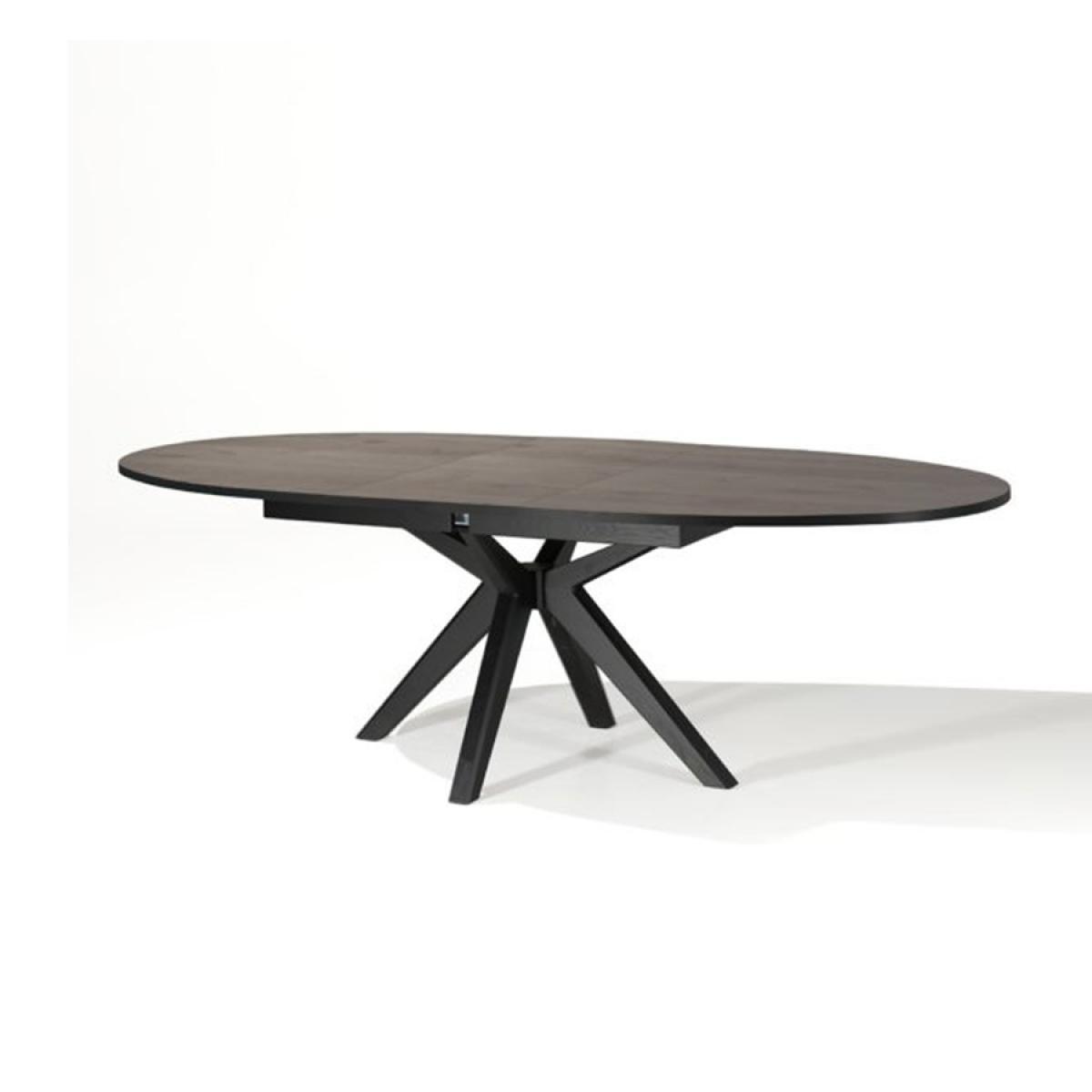 Nouvomeuble Table ovale extensible couleur chêne foncé ESTELLE