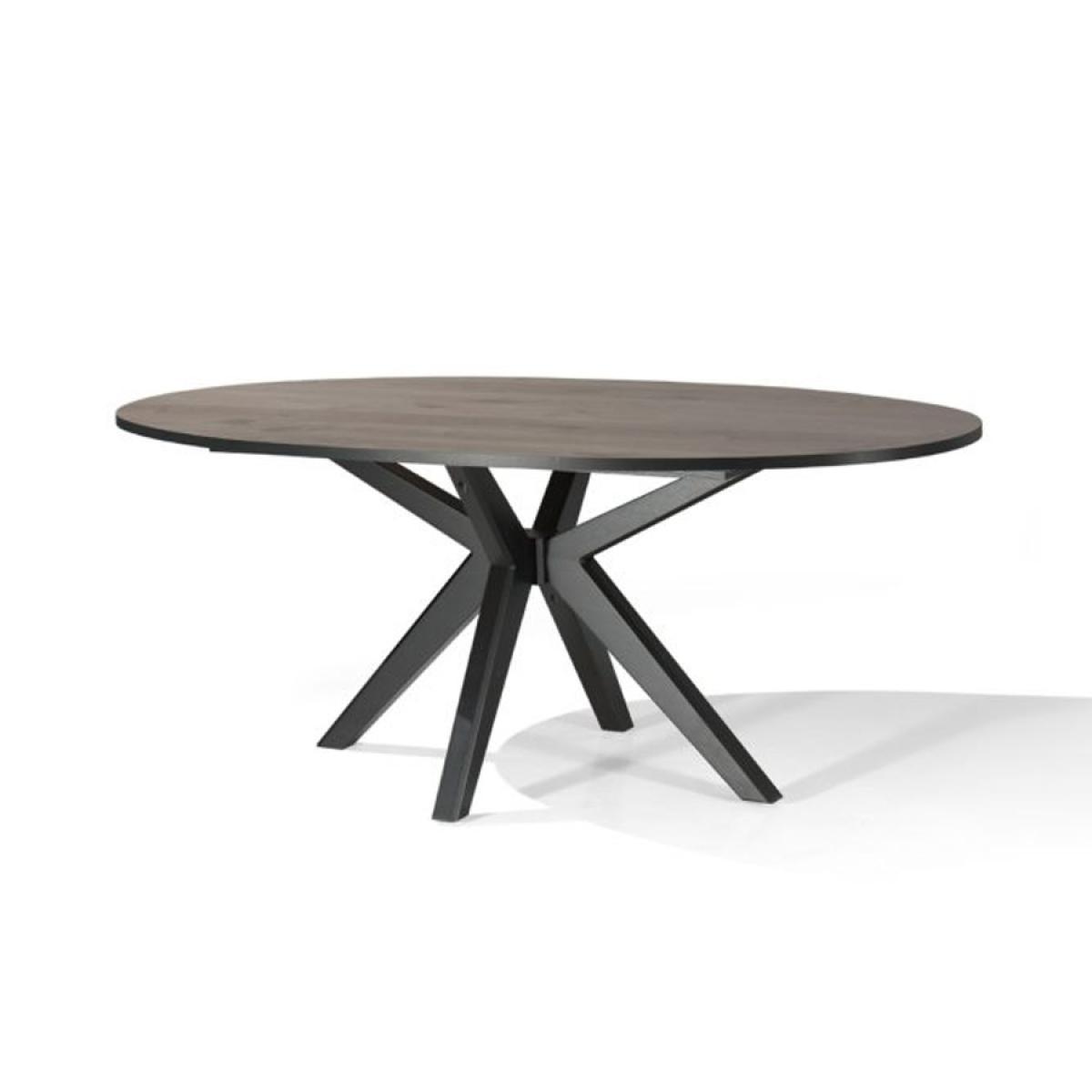 Nouvomeuble Table ovale fixe couleur chêne foncé ESTELLE