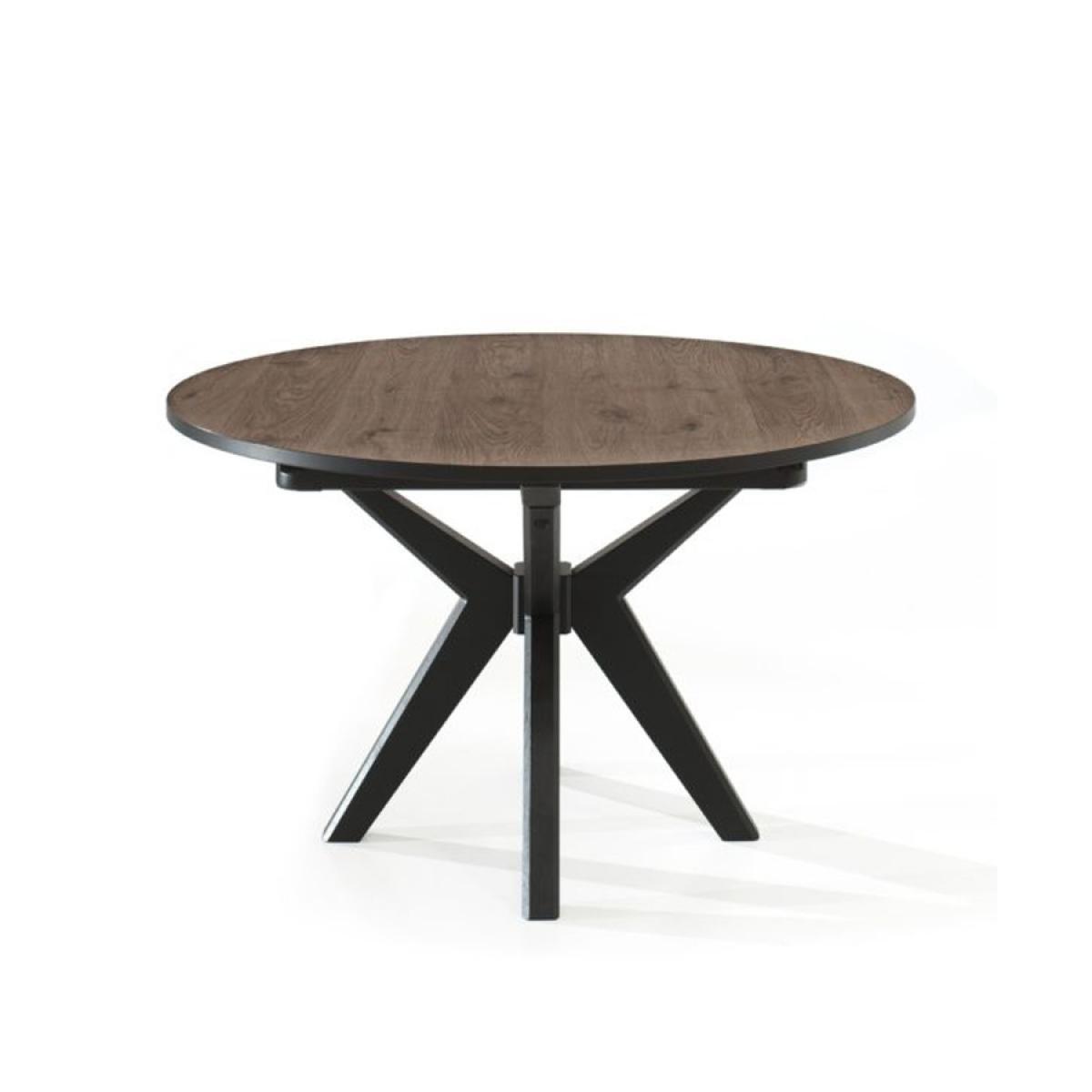 Nouvomeuble Table ronde 130 cm couleur chêne foncé ESTELLE