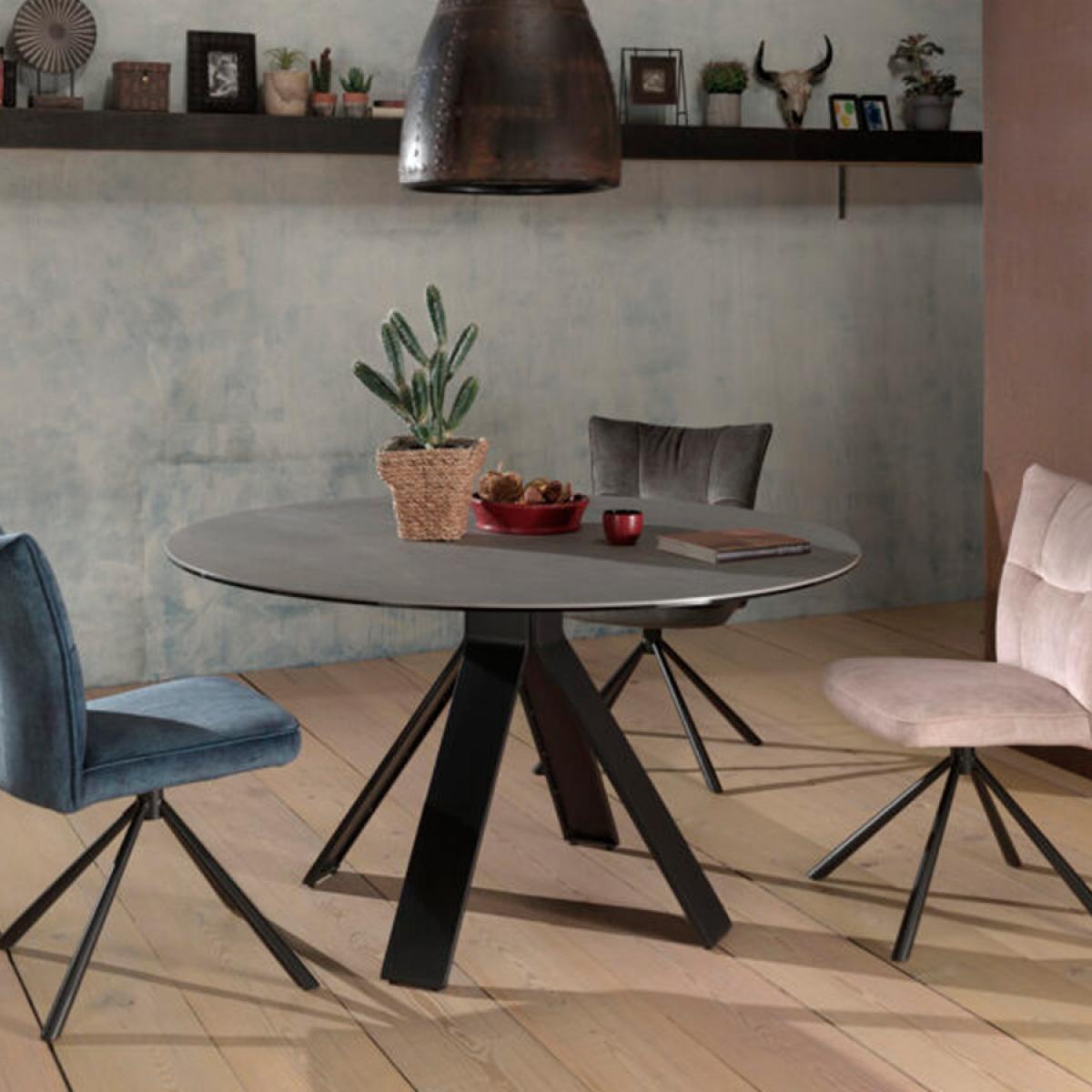 Nouvomeuble Table ronde 130 cm en céramique grise CAMARGUE