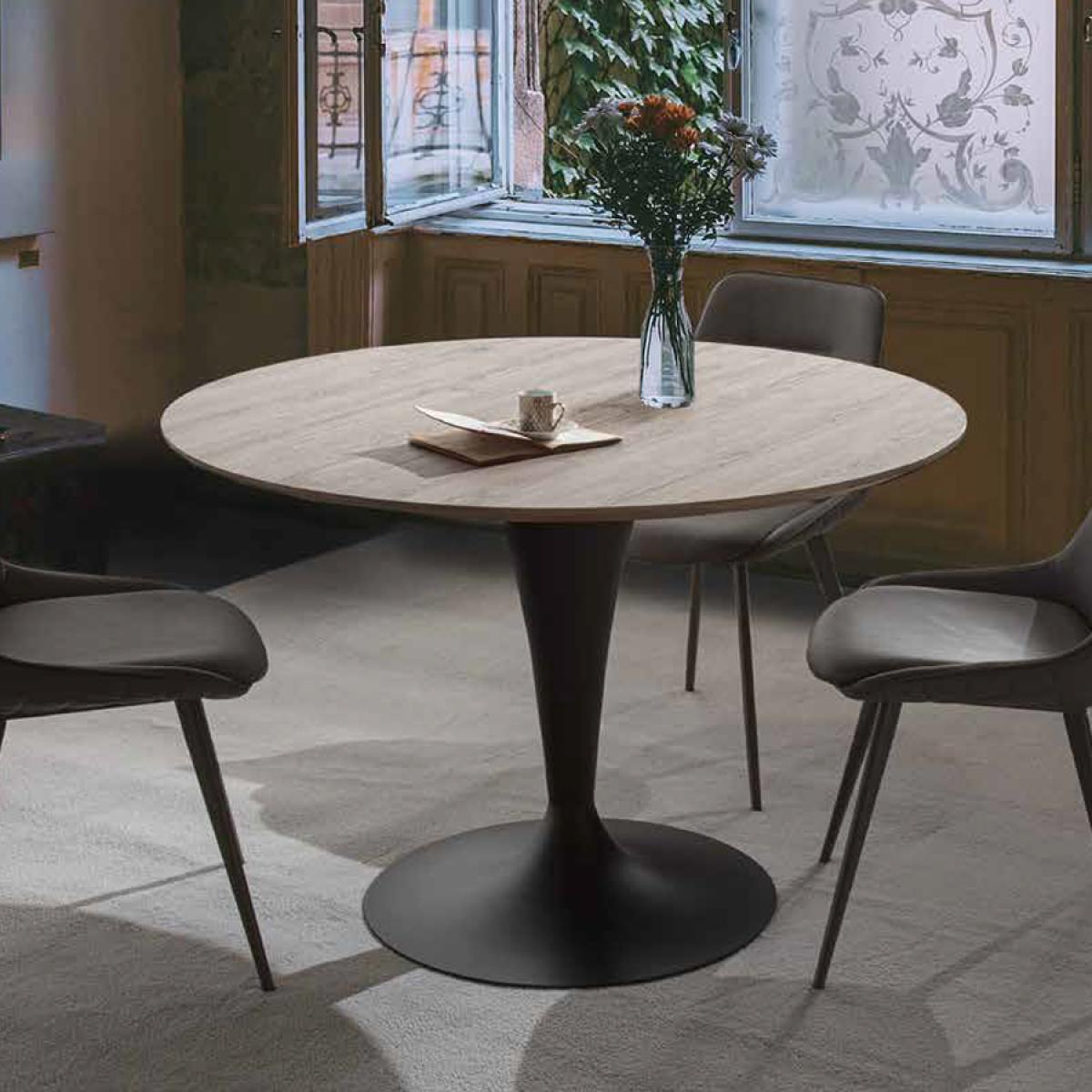 Nouvomeuble Table ronde extensible couleur bois CESARIO