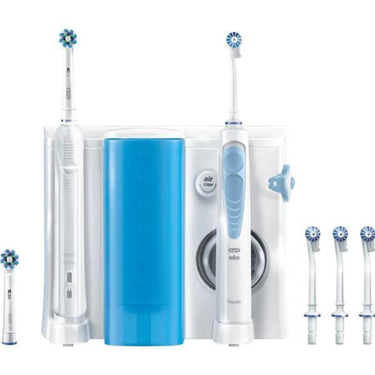 Oral-B Combiné dentaire Pro 900 + Hydropulseur Oxyjet 900 - Blanc