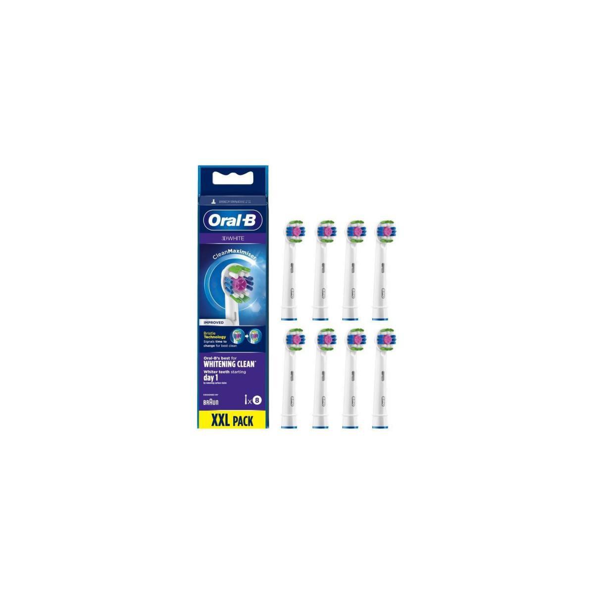 Oral-B Oral-B 3D White Brossette Avec CleanMaximiser, 8