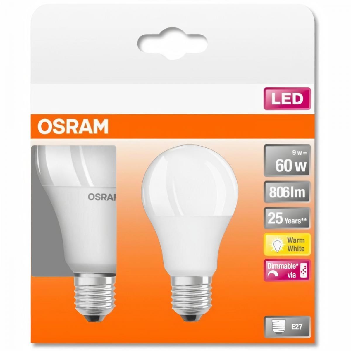 Osram OSRAM Boite de 2 Ampoules LED STAR+ Std RGBW dép radiateur variable - 9W équivalent 60W E27 - Blanc chaud