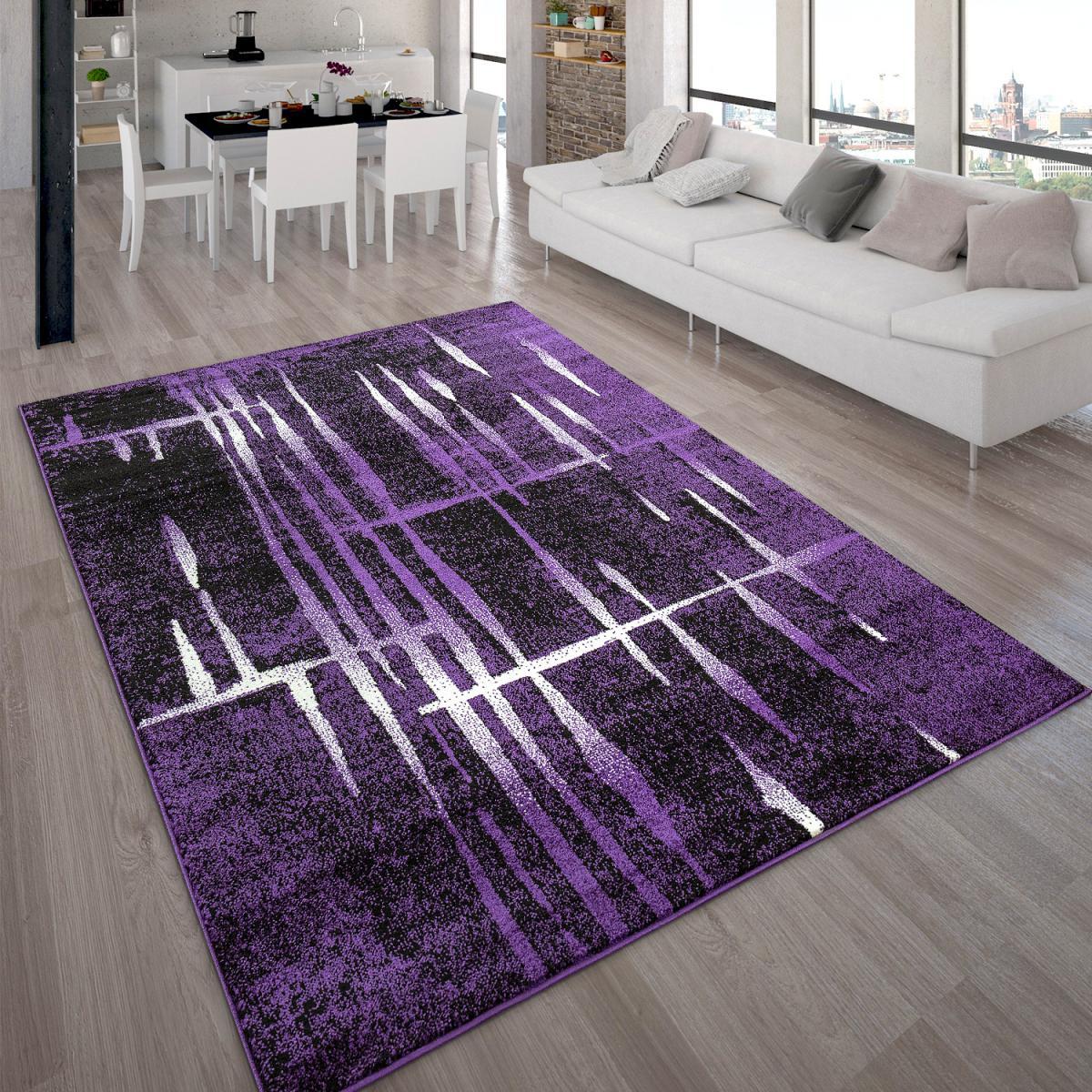 Paco-Home Tapis Design Moderne Poil Court Trendy Violet Crème Moucheté