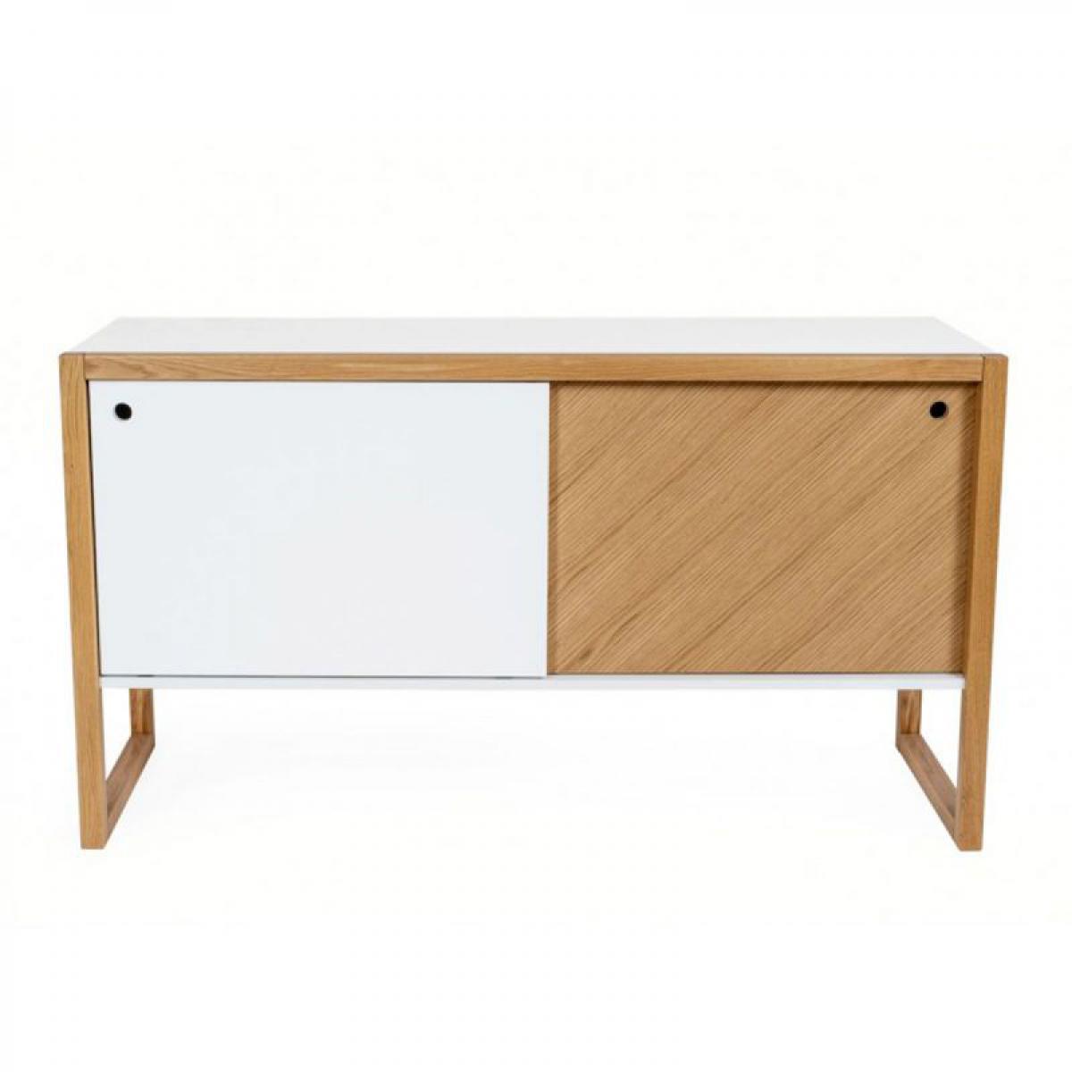 Paris Prix Buffet 2 Portes Design Cubis 130cm Blanc & Chêne