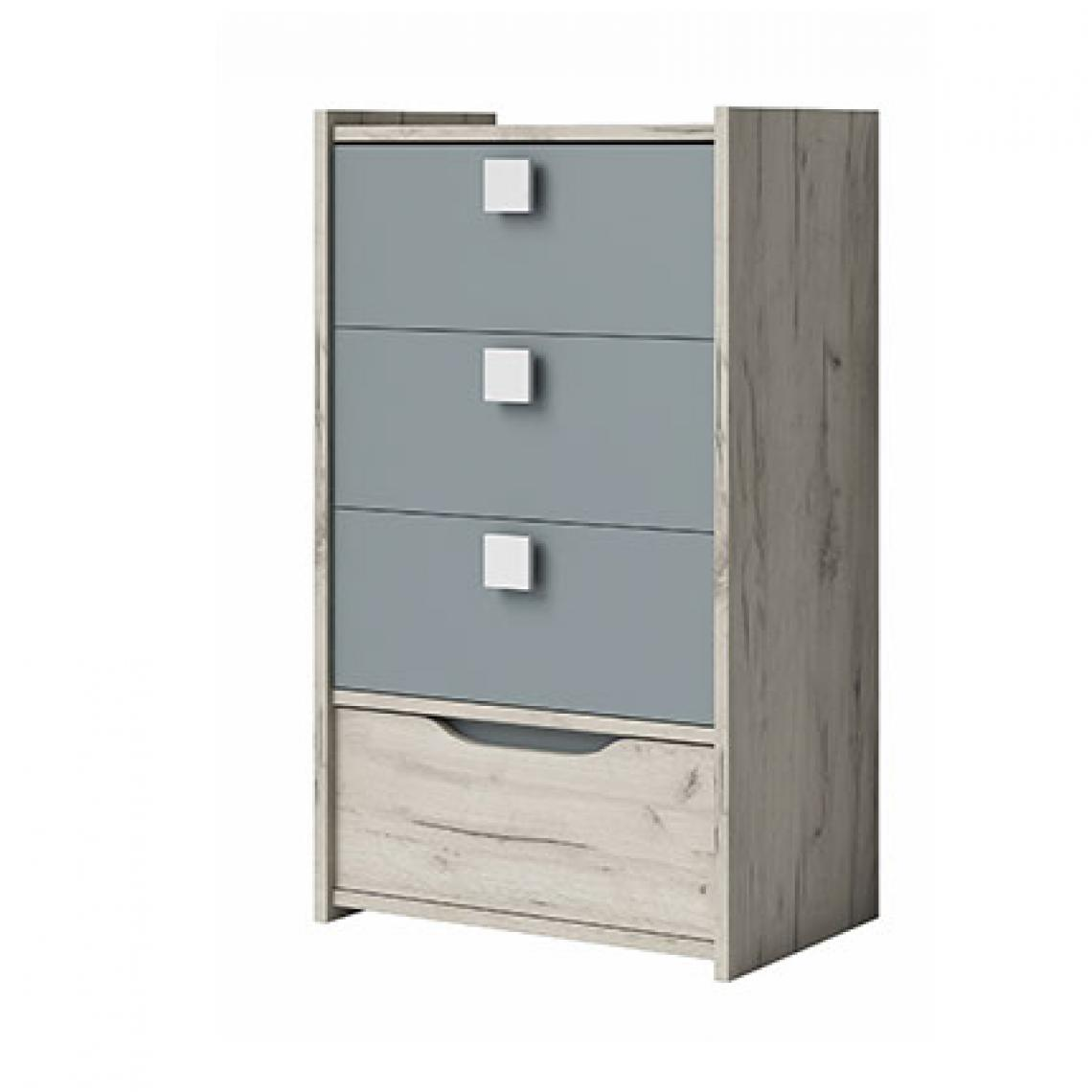 Paris Prix Chiffonnier 4 tiroirs 60 cm décor chêne clair et gris - INAYA