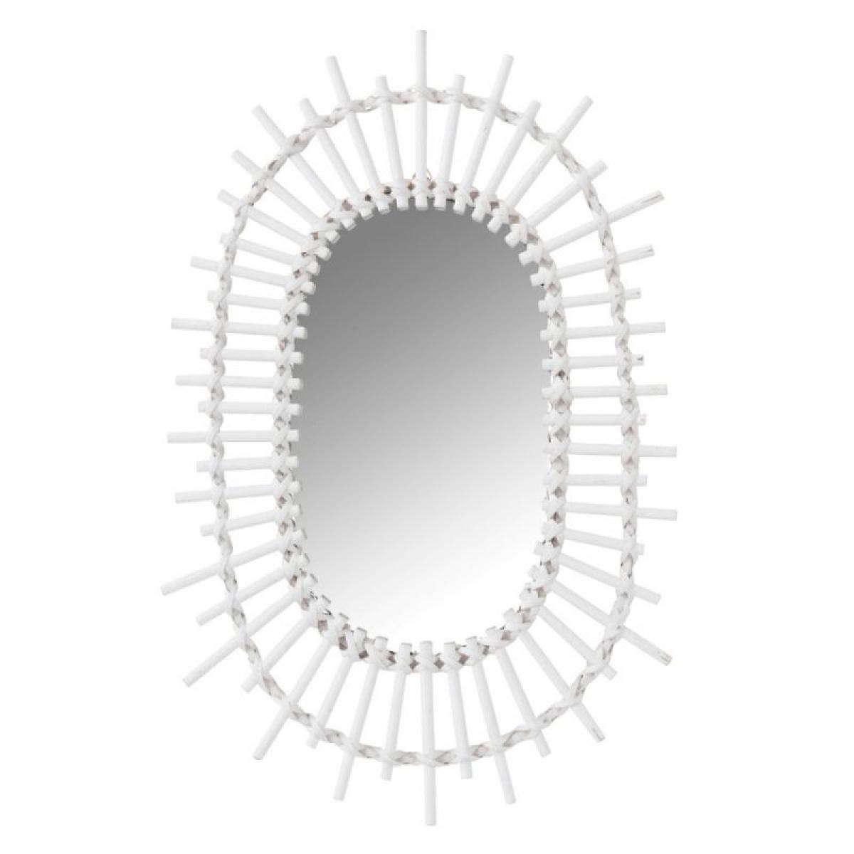 Paris Prix Miroir Design en Bambou Soleil Ovale 50cm Blanc