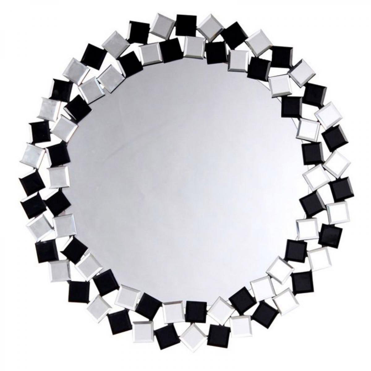 Paris Prix Miroir Mural Design Mosaic 80cm Argent & Noir