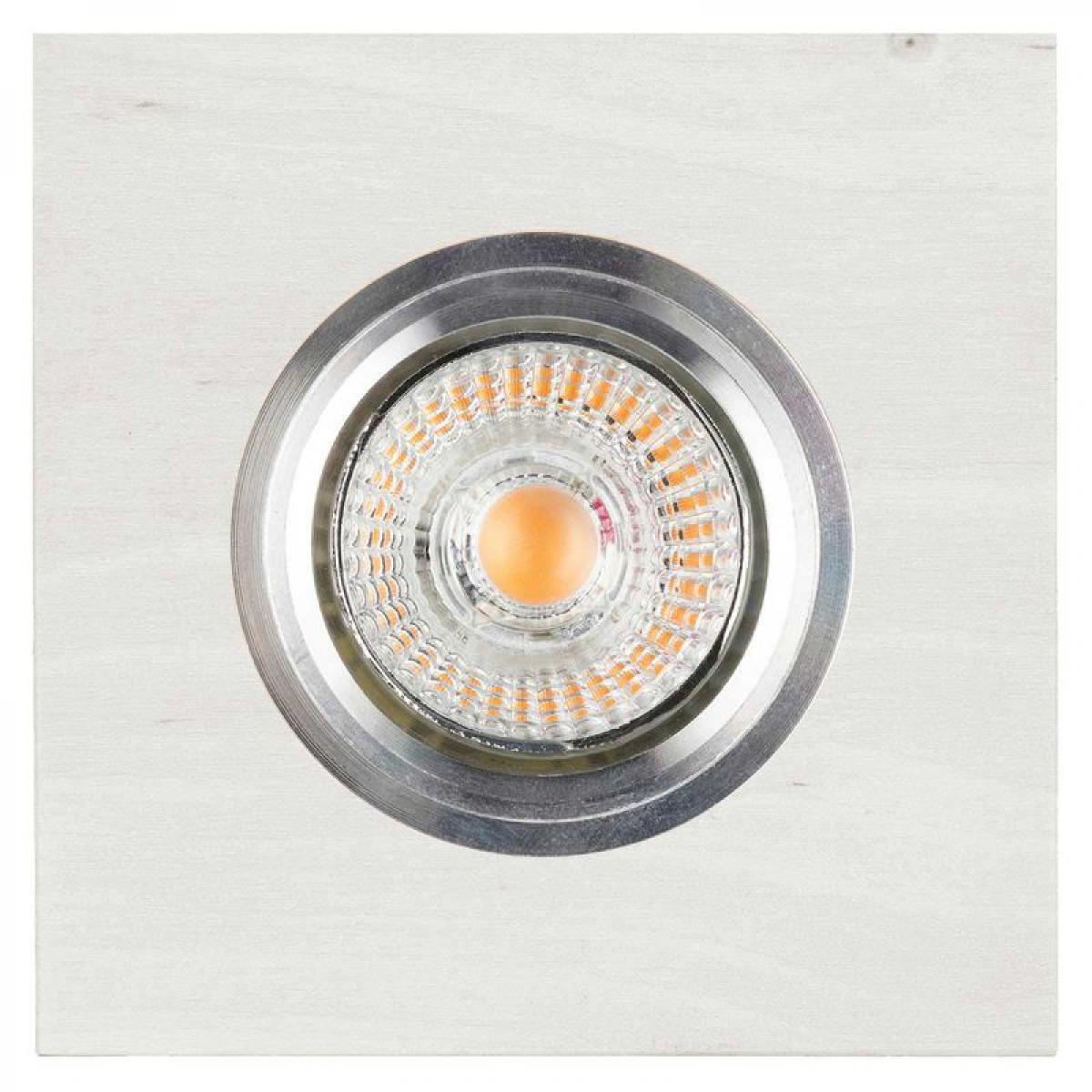Paris Prix Spot Encastrable Carré LED Bois 9cm Blanc