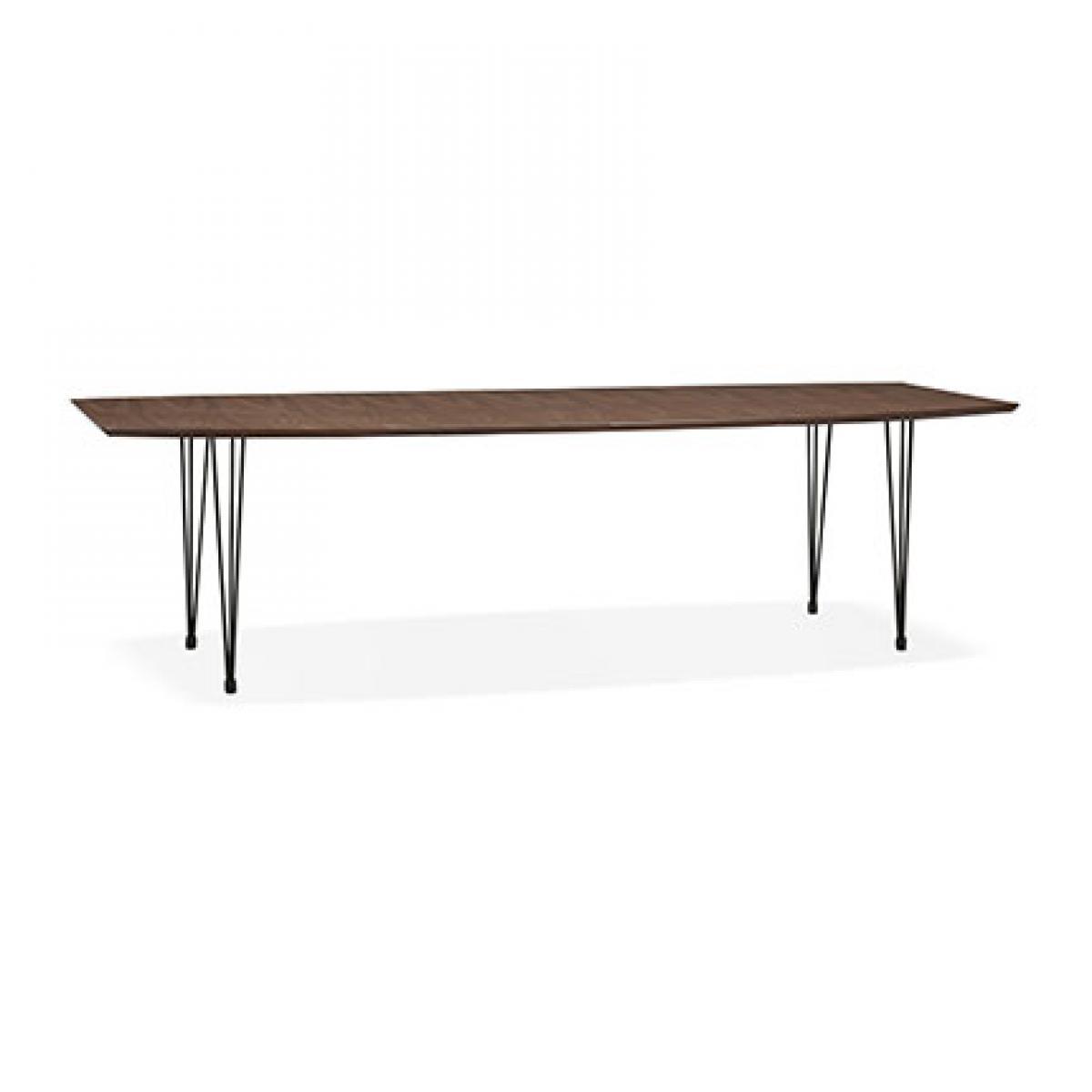 Paris Prix Table à manger 270 cm en bois décor noyer et métal