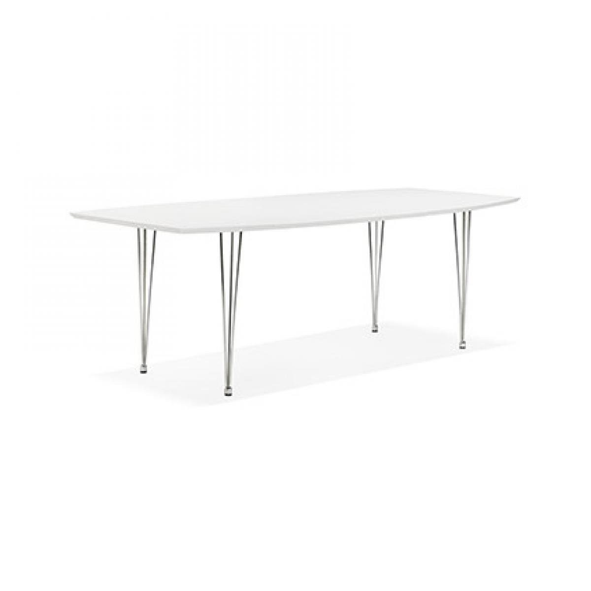 Paris Prix Table à manger design 270x100x73 cm en bois blanc et métal chromé