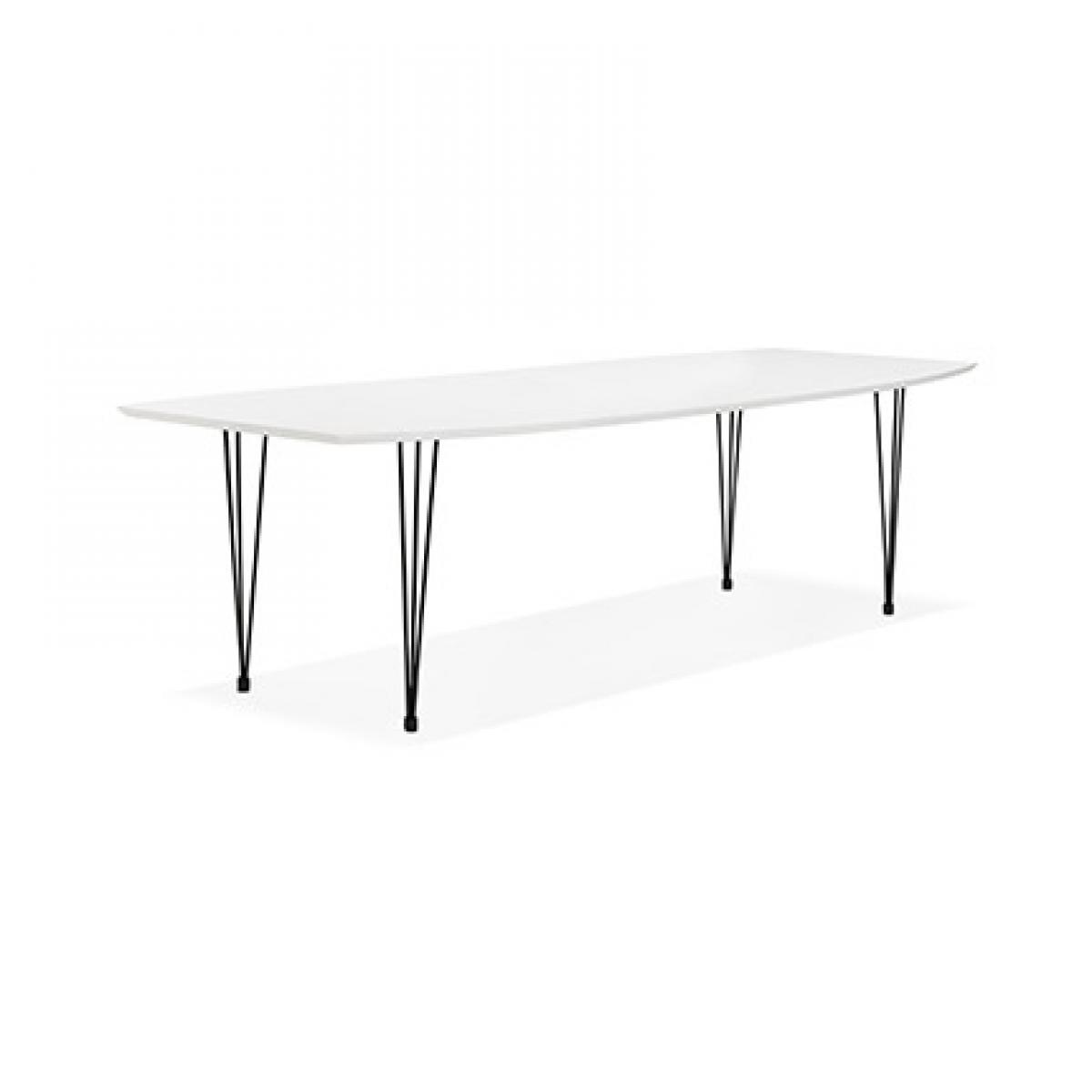 Paris Prix Table à manger design 270x100x73 cm en bois blanc et métal noir