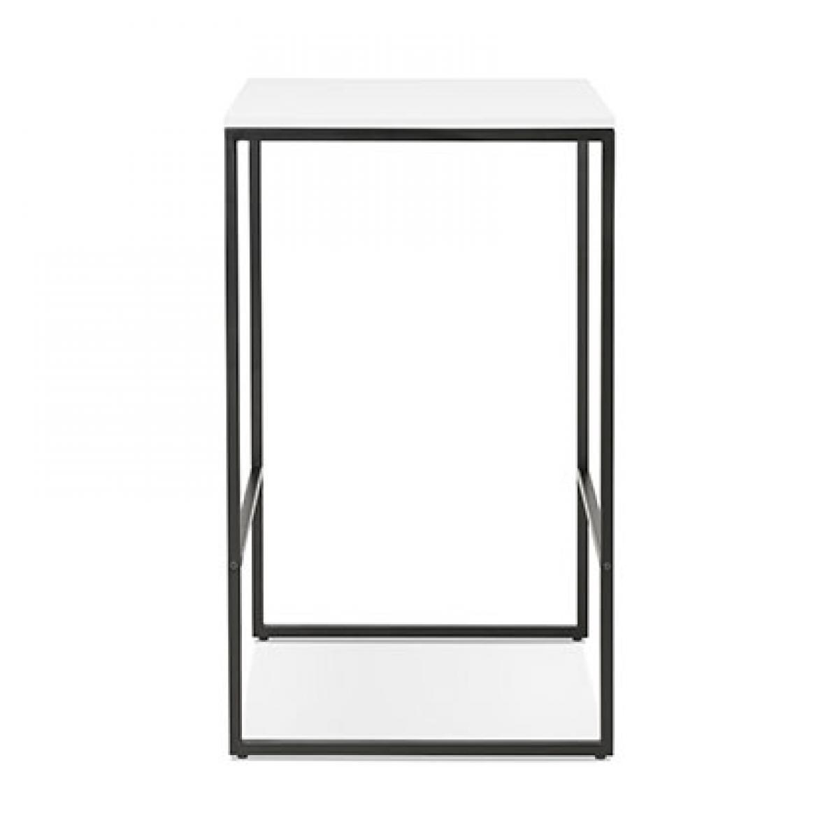Paris Prix Table de bar carrée 60x102 cm en bois blanc et métal noir