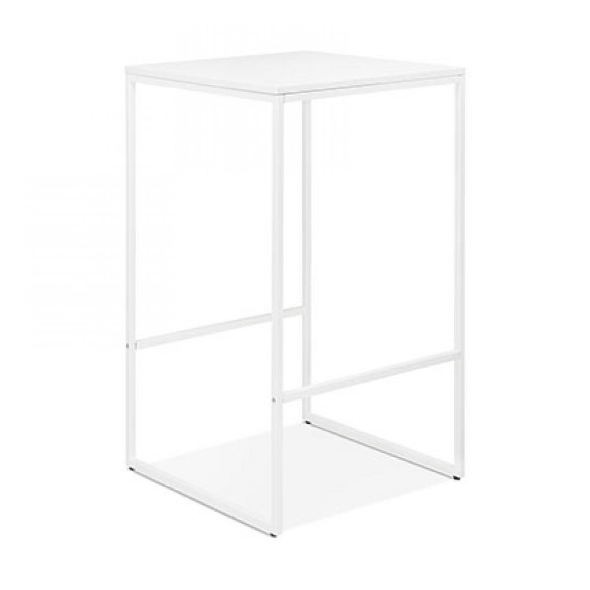 Paris Prix Table de bar carrée 60x102 cm en bois et métal blanc
