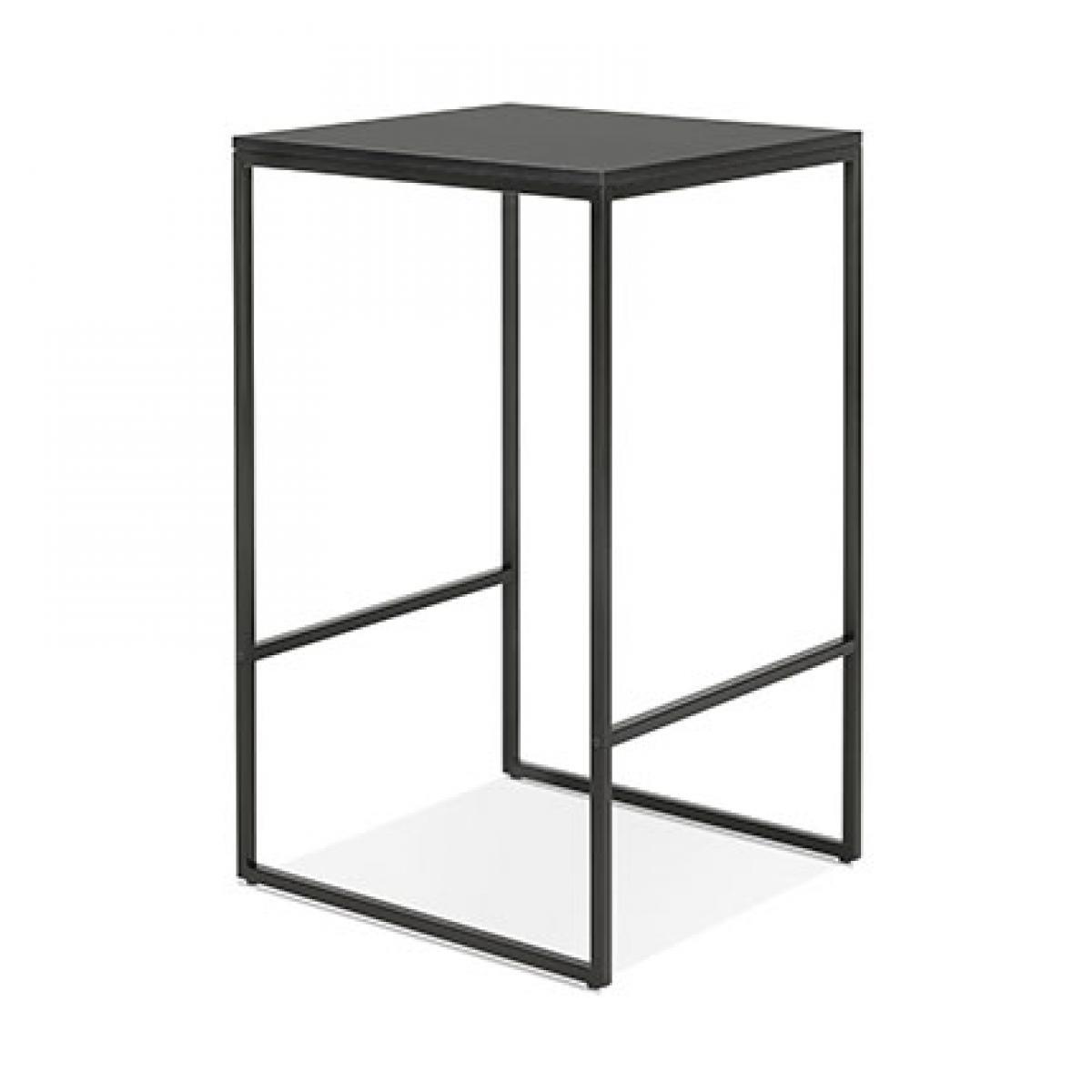 Paris Prix Table de bar carrée 60x102 cm en bois et métal noir