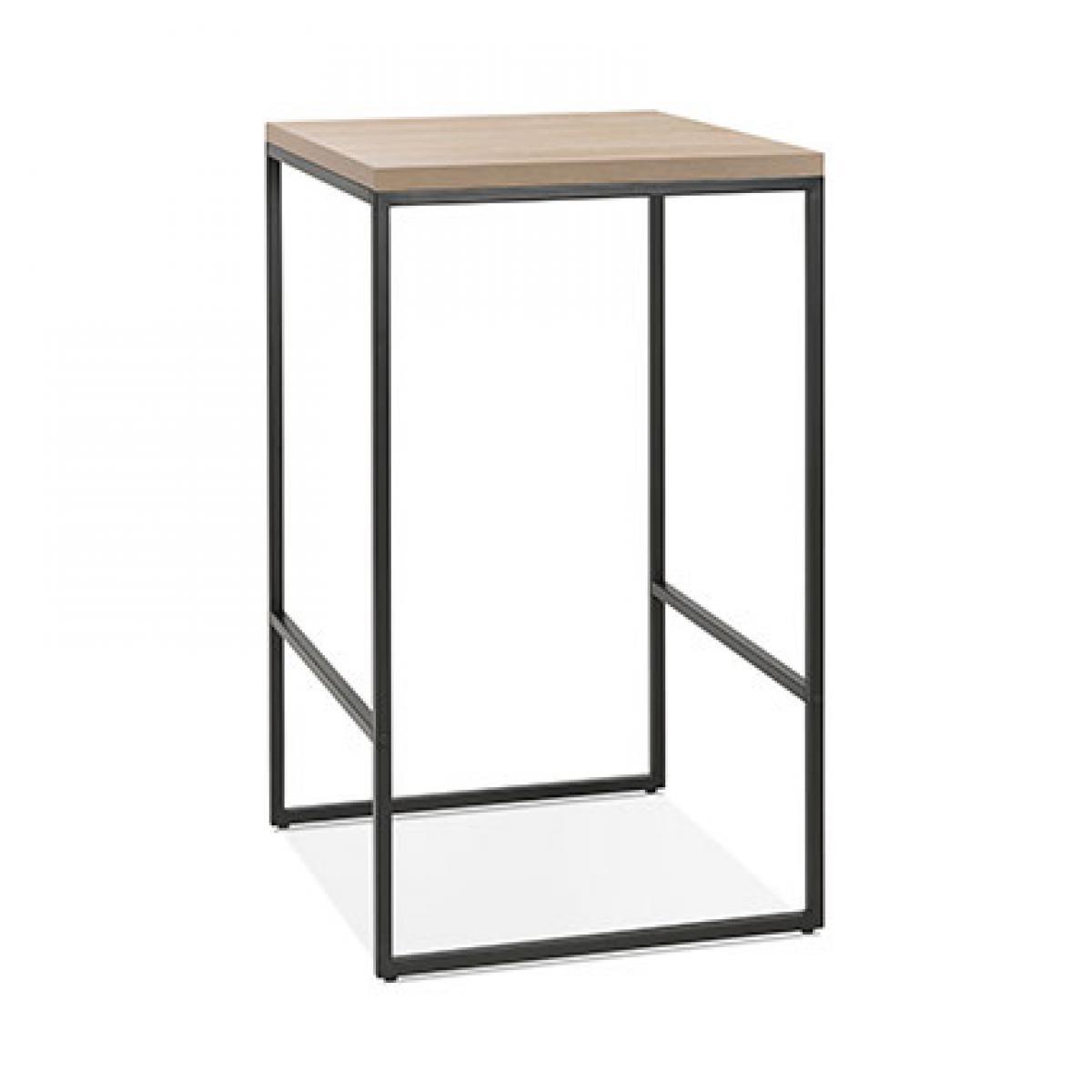Paris Prix Table de bar carrée 60x105 cm en bois naturel et métal noir