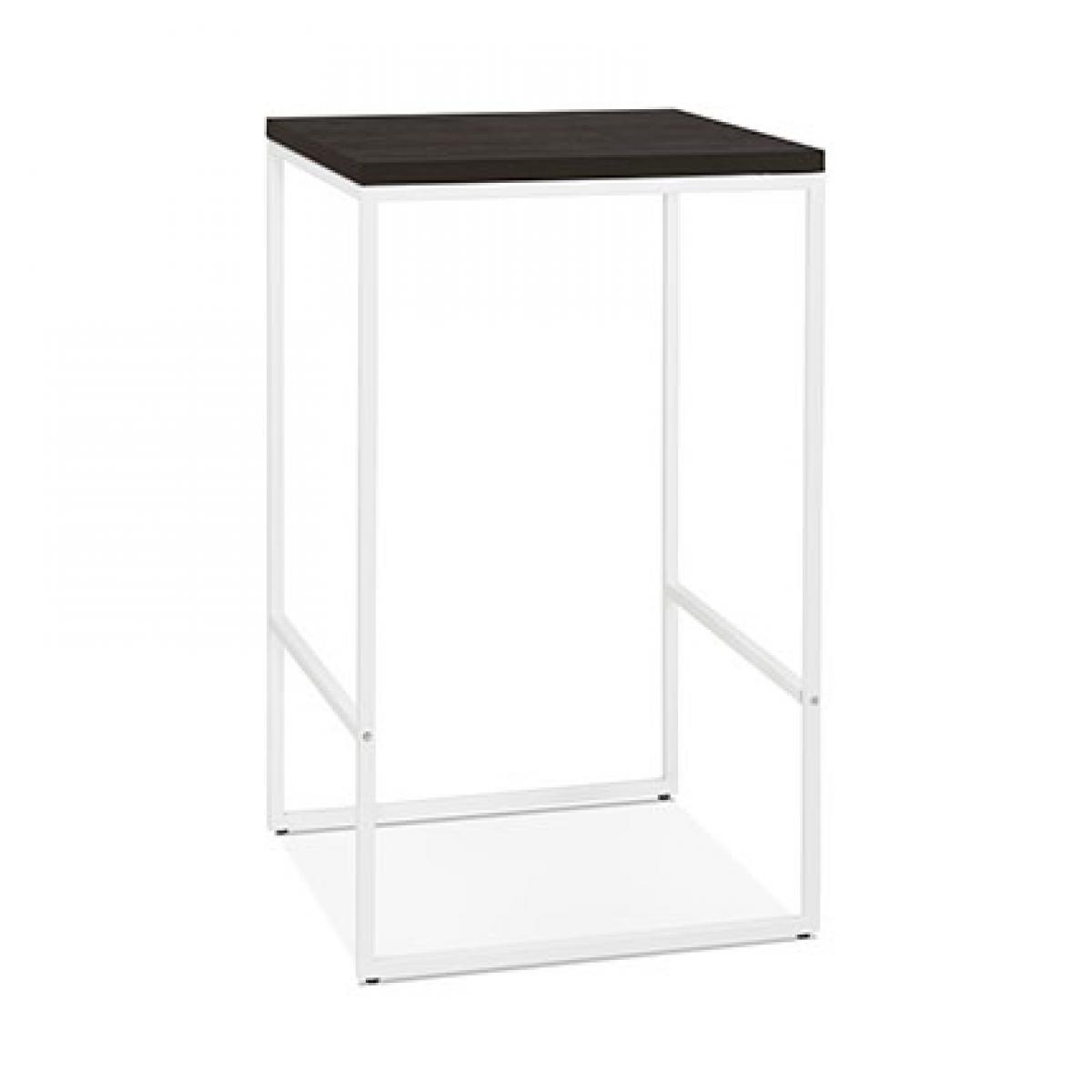 Paris Prix Table de bar carrée 60x105 cm en bois wengé et métal blanc