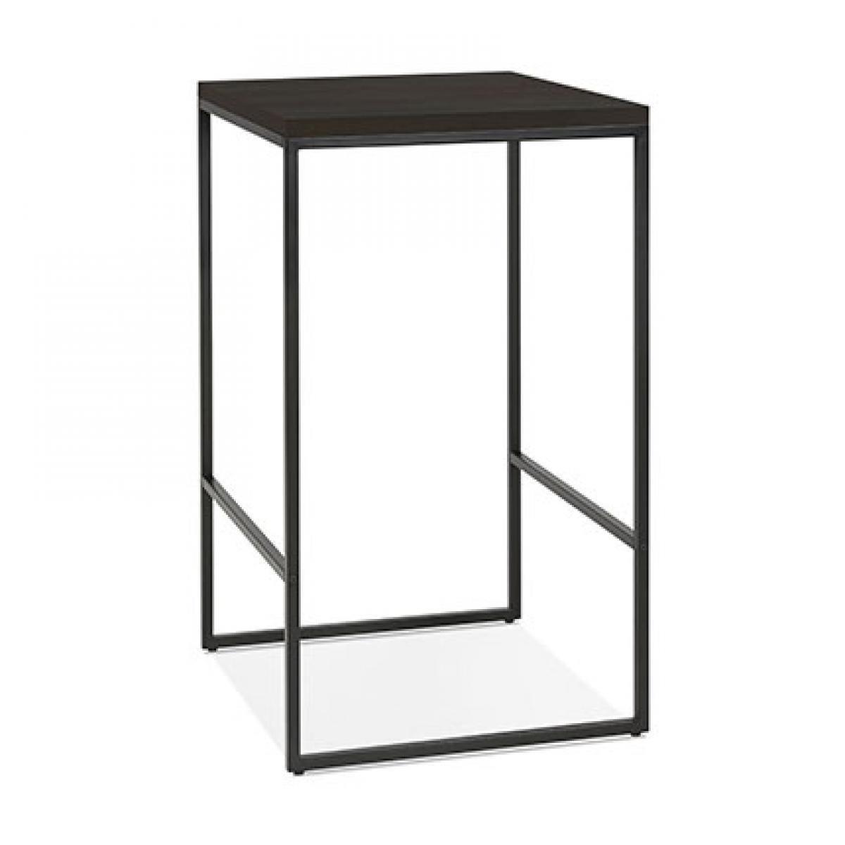 Paris Prix Table de bar carrée 60x105 cm en bois wengé et métal noir