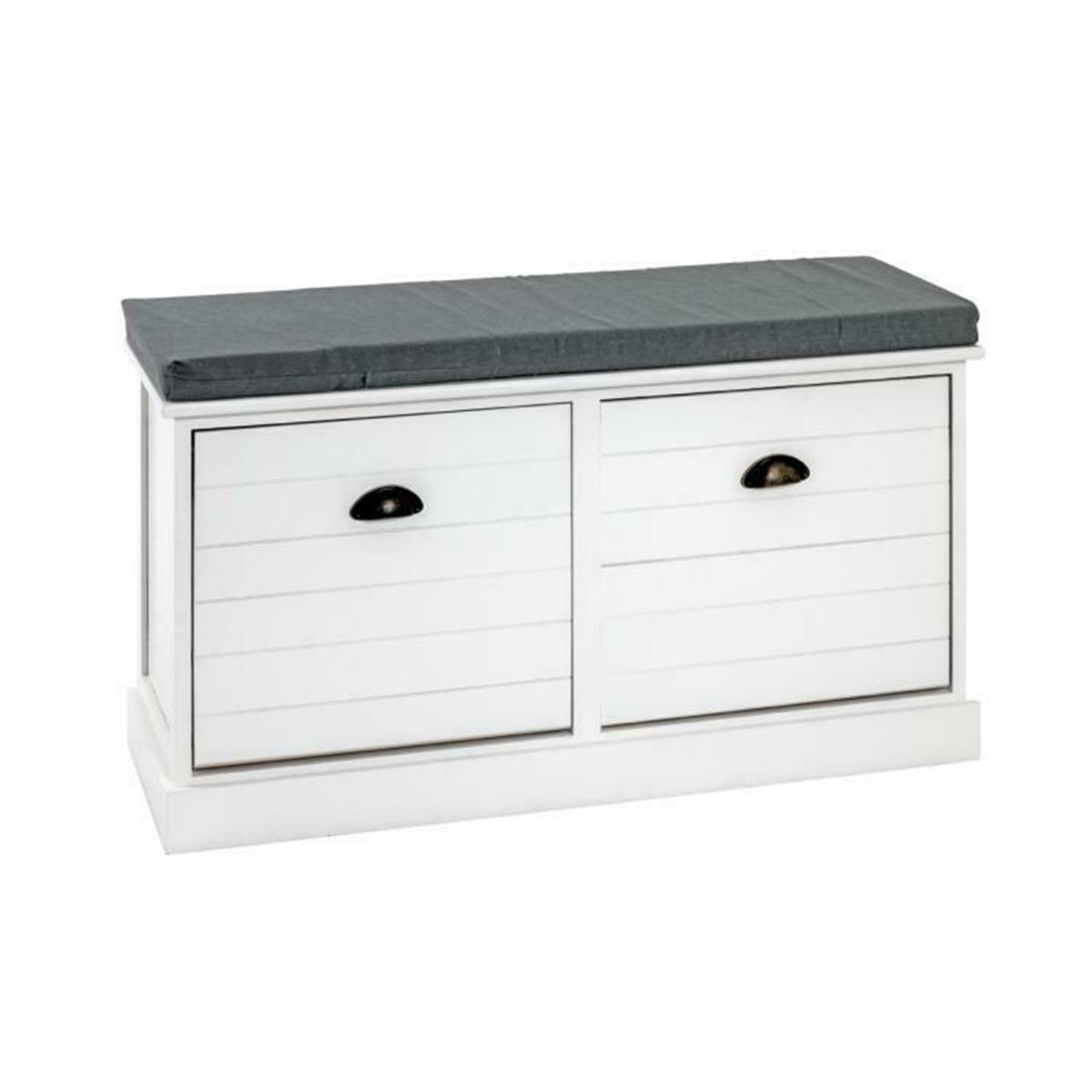 Pegane Banc coloris blanc-gris en bois - L 70 x P 35 x H 50 cm
