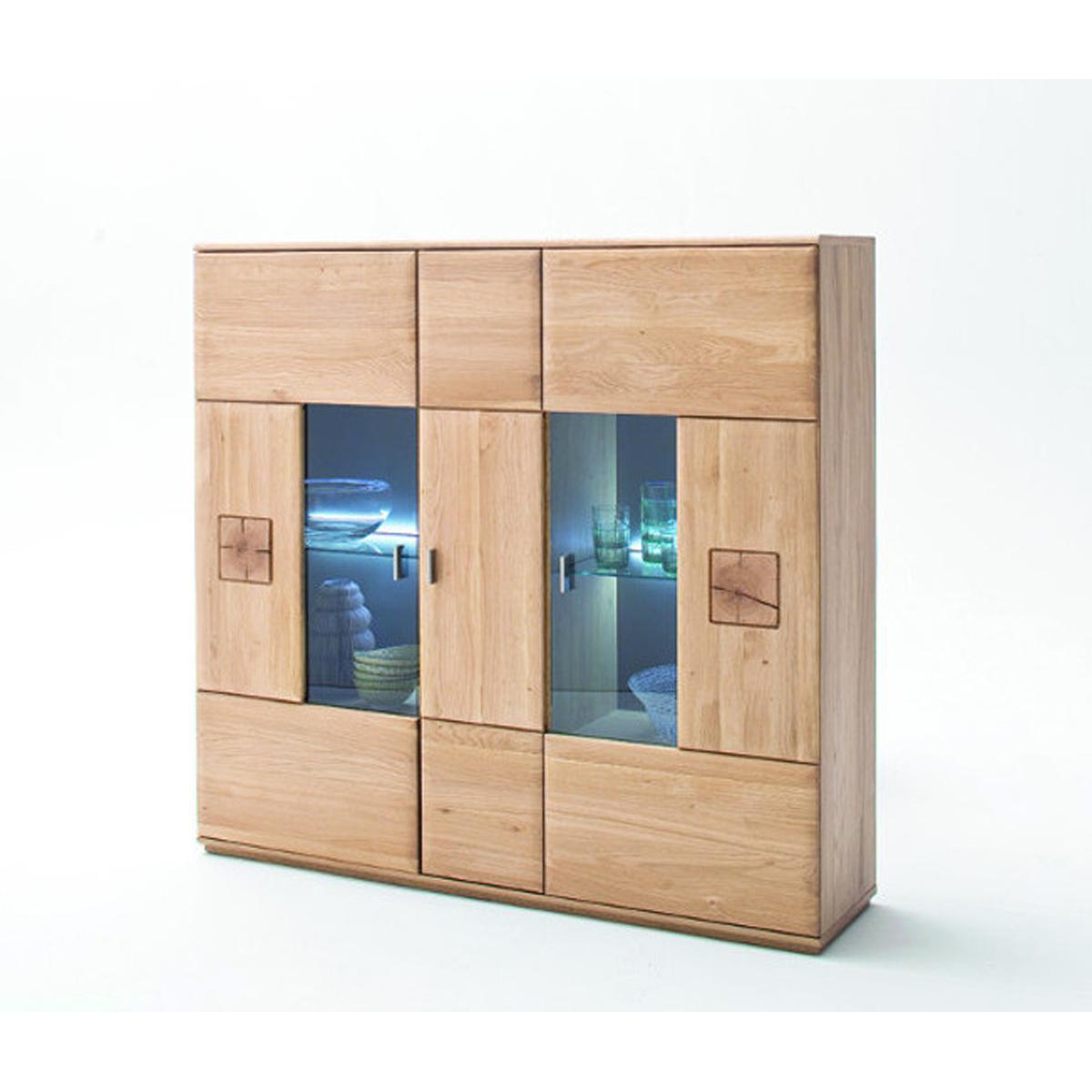 Pegane Buffet en bois chêne massif bianco + LED - L.150 x H.141 x P.38 cm