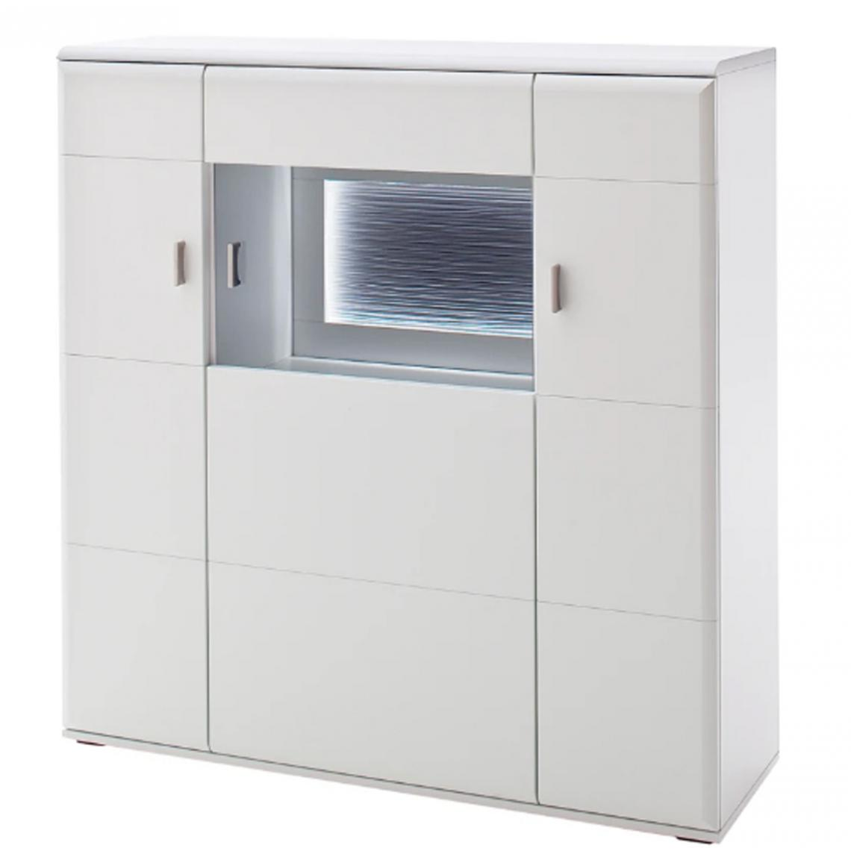 Pegane Buffet en bois coloris blanc mat - L.120 x H.124 x P.38 cm