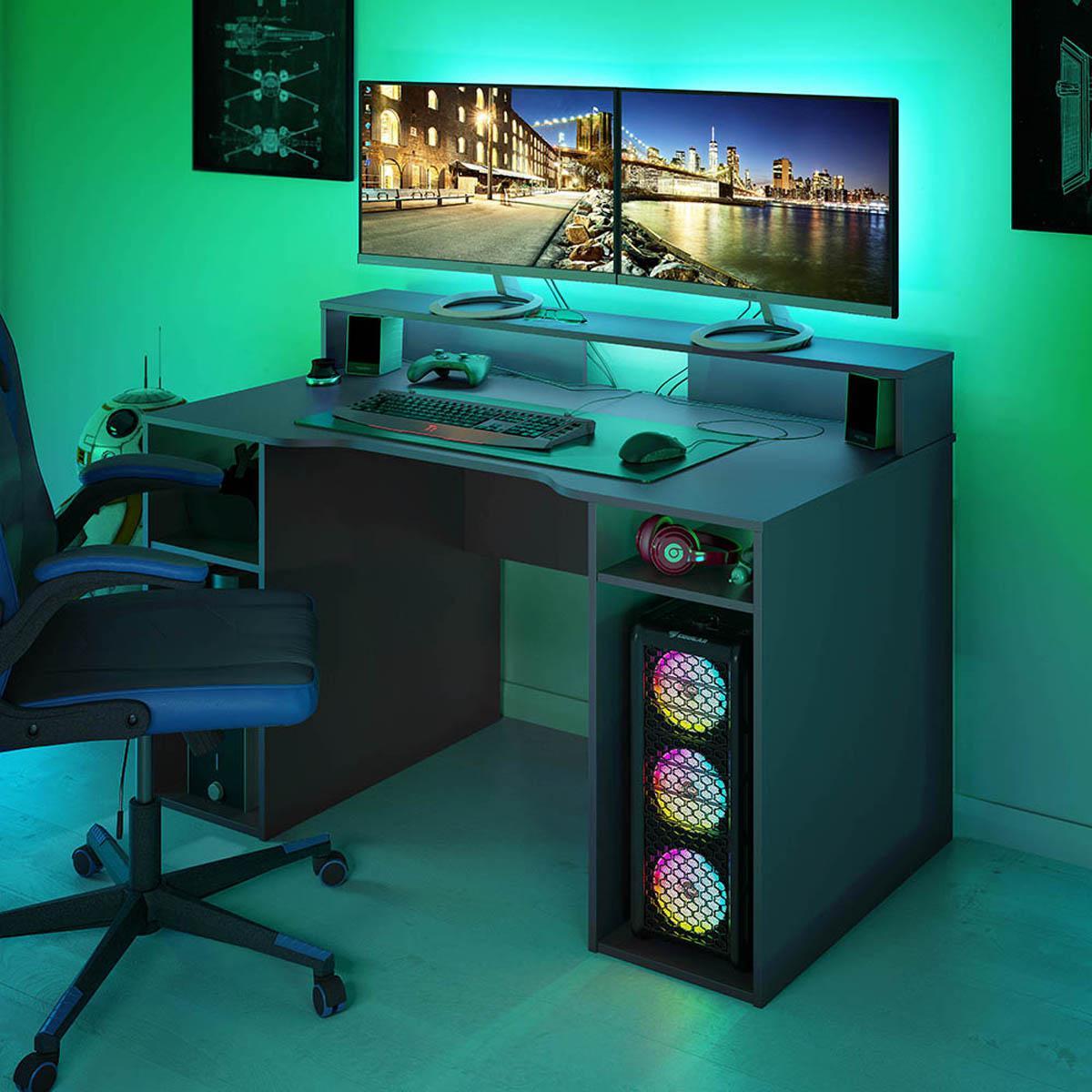 Pegane Bureau pour Ordinateur, Station e-Gaming coloris anthracite en Bois MDF - 88 x 136 x 67 cm -PEGANE-