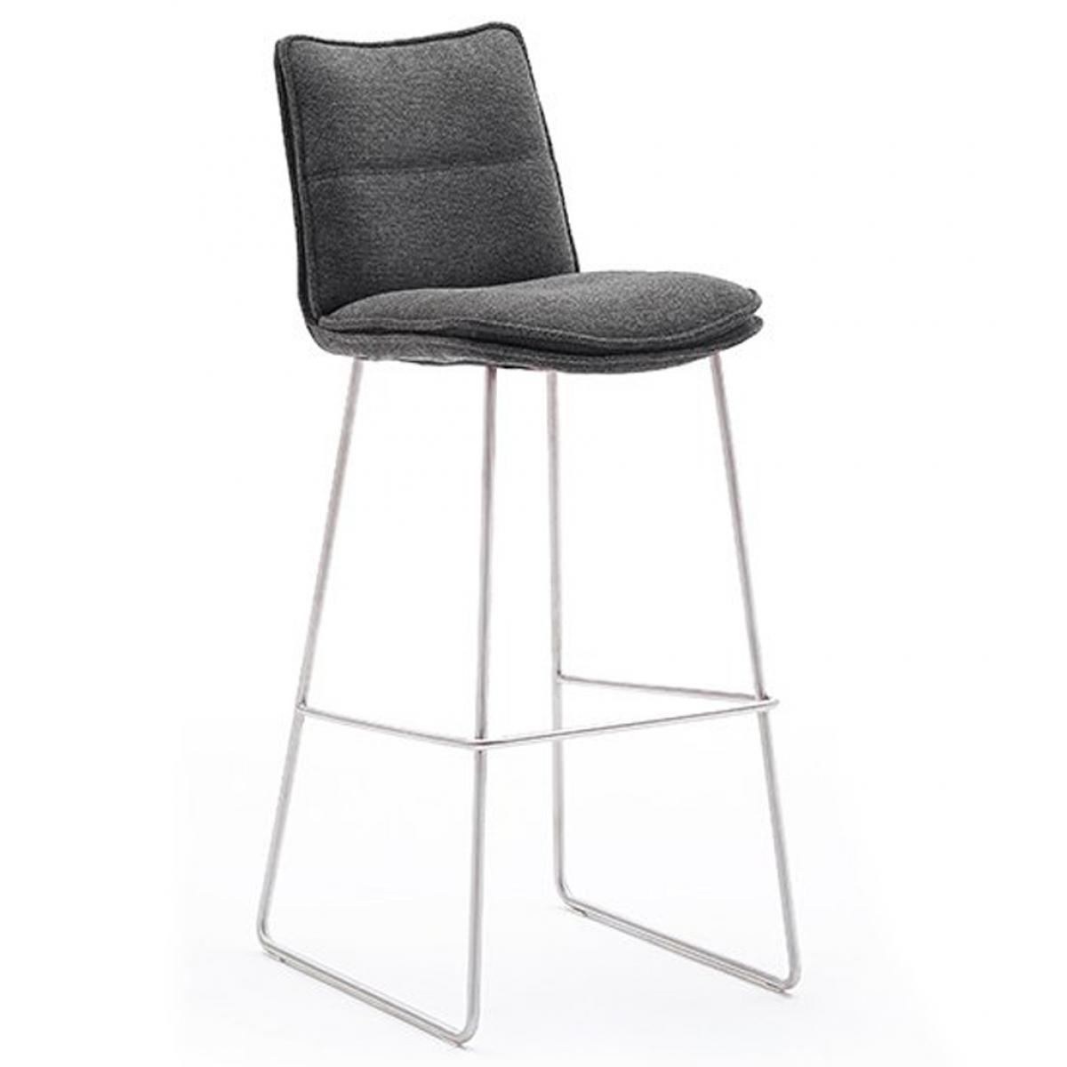 Pegane Chaise de bar en acier et tissu coloris anthracite - L.45 x H.110 x P.54 cm -PEGANE-
