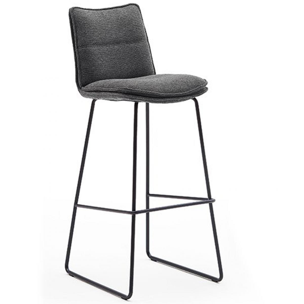 Pegane Chaise de bar en métal laqué noir mat et tissu coloris anthracite - L.45 x H.110 x P.54 cm -PEGANE-