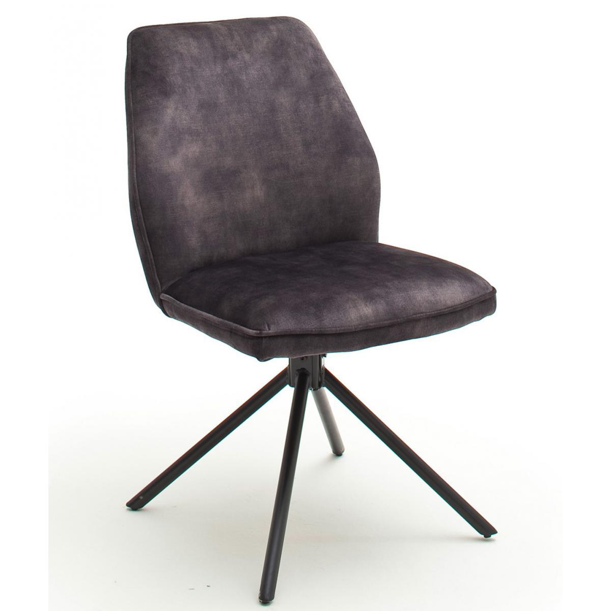 Pegane Chaise de salle à manger en tissu aspect velours anthracite - L.54 x H.89 x P.64 cm -PEGANE-