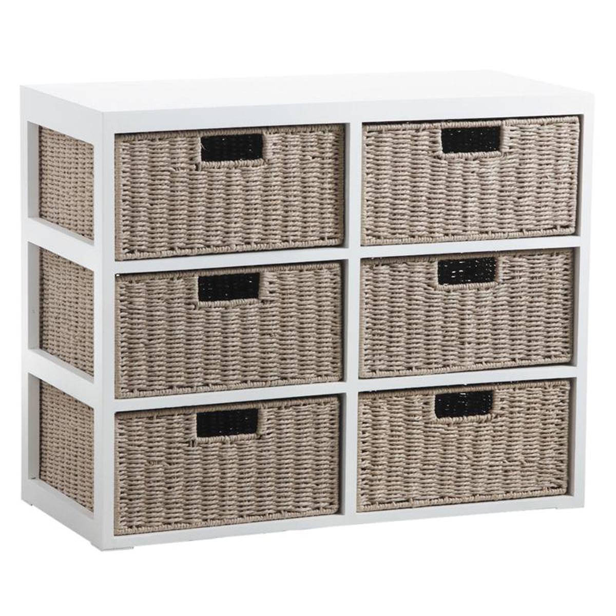 Pegane Commode 6 tiroirs en bois laqué blanc et papier cordé - 79 x 36 x 63 cm -PEGANE-