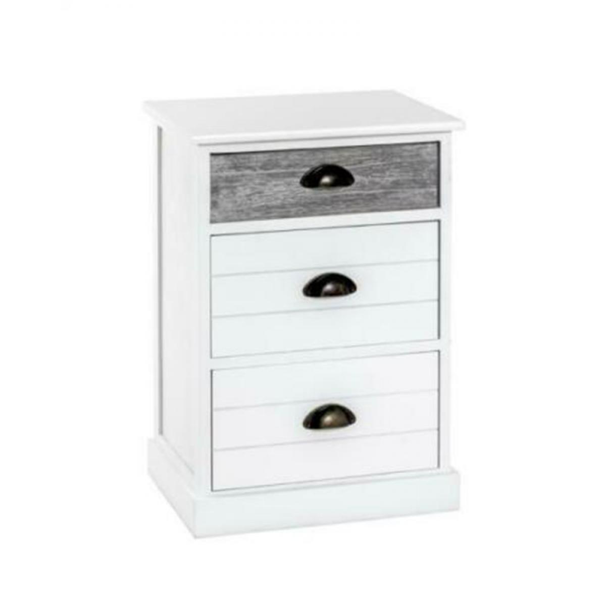 Pegane Commode coloris blanchi / gris en bois - L 41 x P 31 x H 60 cm