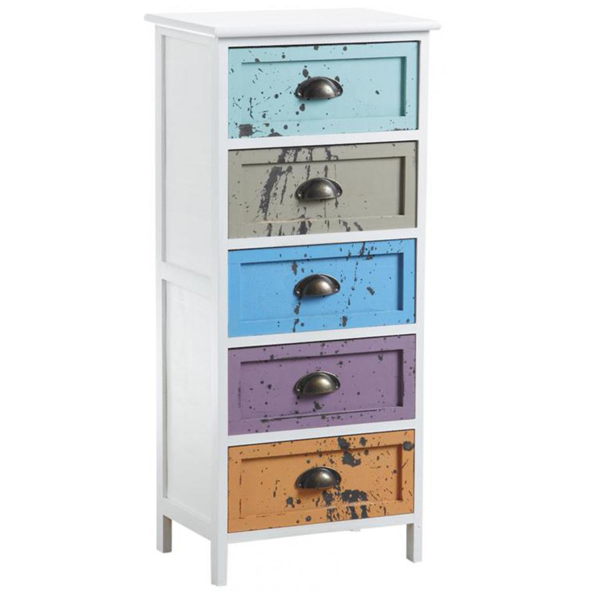Pegane Commode en bois avec 5 tiroirs multicolores - 40 x 29 x 90 cm -PEGANE-