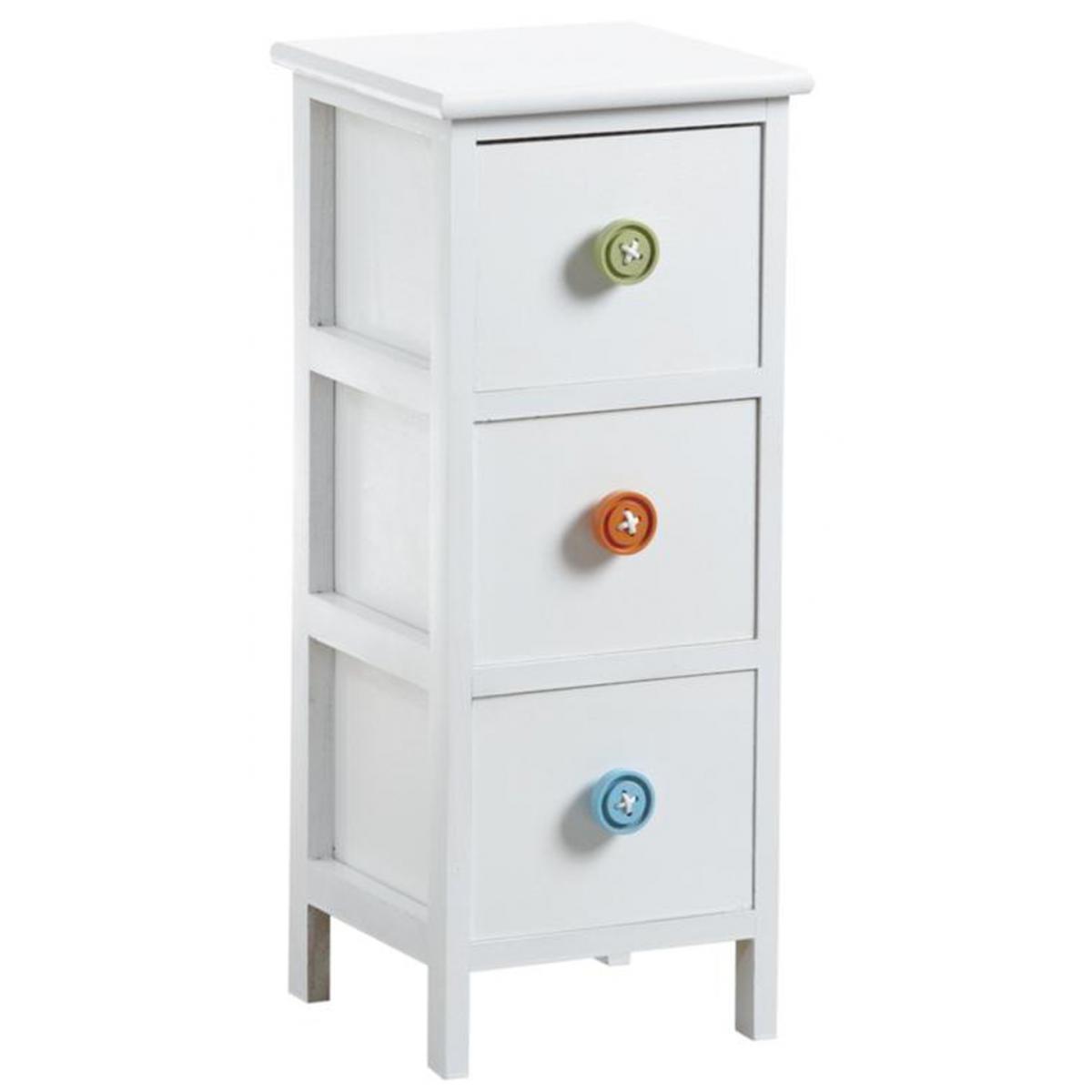 Pegane Commode en medium et bois laqué blanc avec 3 tiroirs - 25 x 25 x 60 cm -PEGANE-
