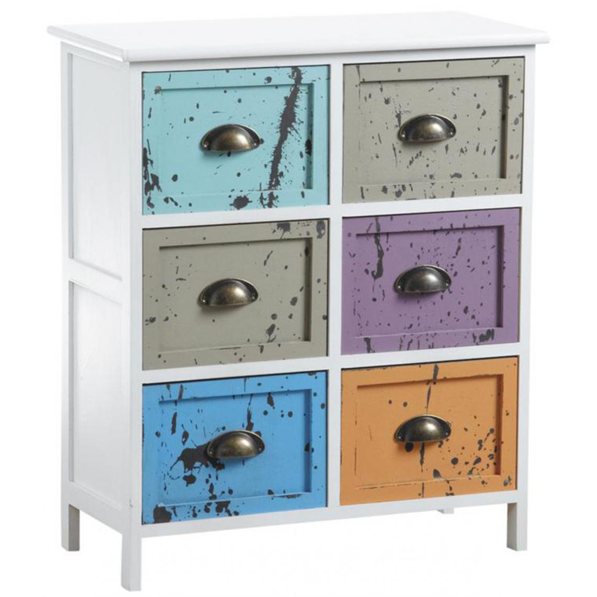 Pegane Commode multicolore en bois avec 6 tiroirs - 60 x 28 x 70 cm -PEGANE-