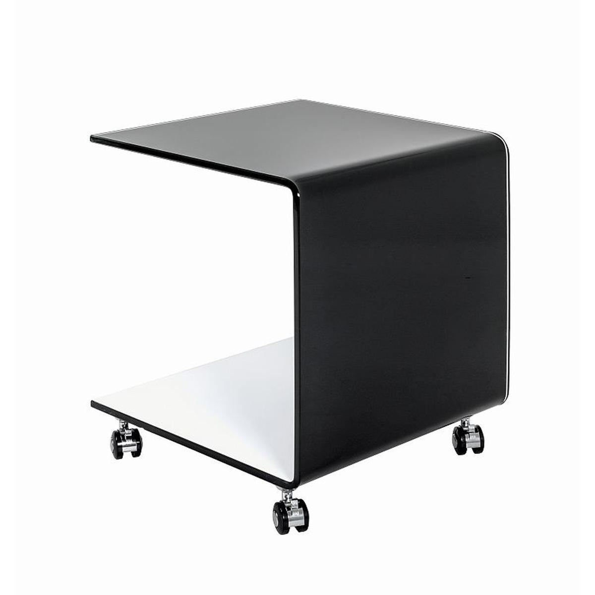 Pegane Desserte coloris noir-blanc en verre - L 42 x P 42 x H 49 cm