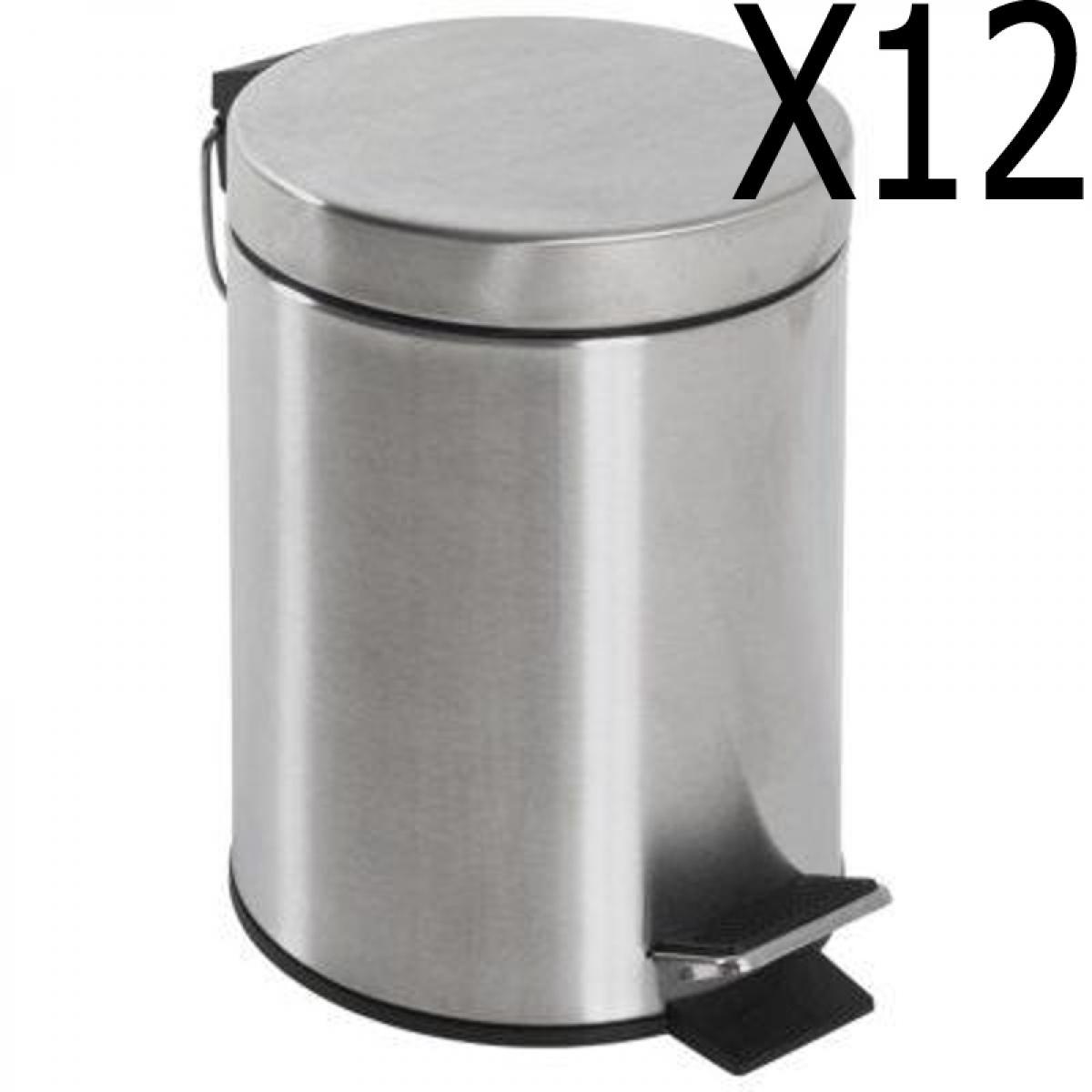 Pegane Lot de 12 poubelles à pédale coloris inox mat - H 24 x Ø 17 cm