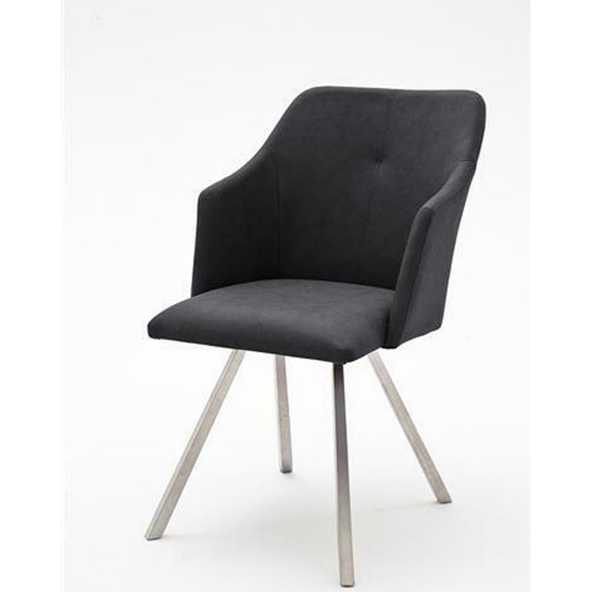 Pegane Lot de 2 chaises de salle à manger en acier / similicuir anthracite - L.54 x H.88 x P.62 cm -PEGANE-